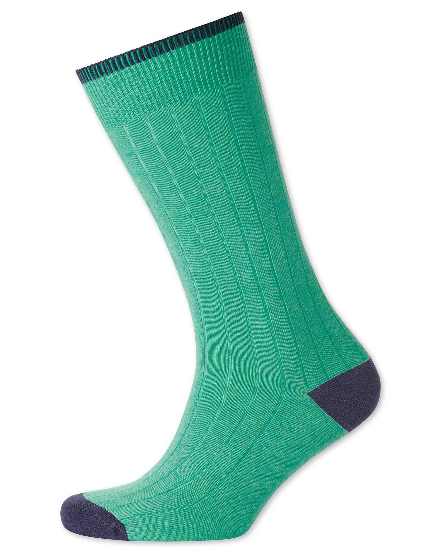 Bright Mint Cotton Rib Socks Size Large by Charles Tyrwhitt
