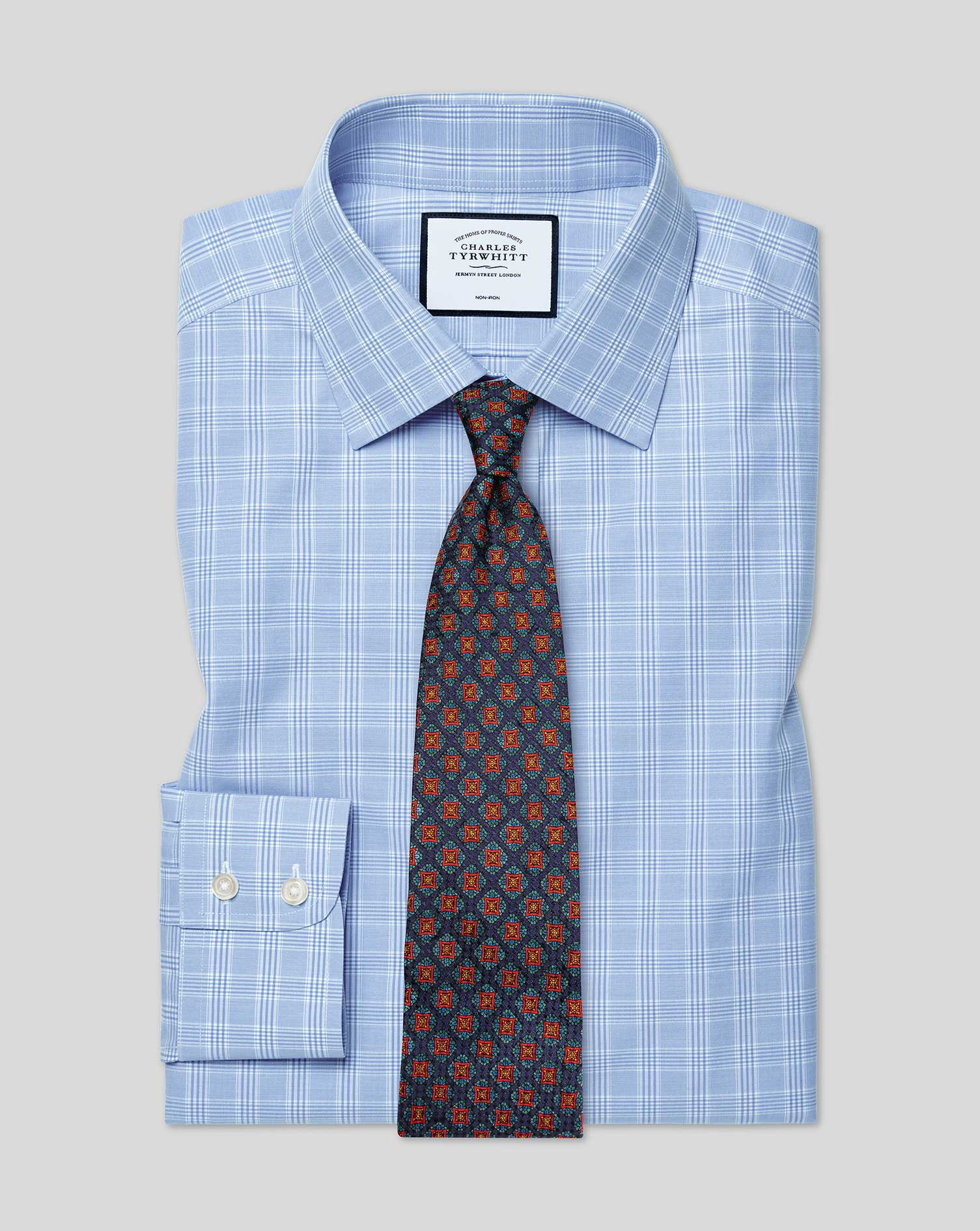 Slim Fit Non-Iron Sky Blue Prince Of Wales Check Cotton Formal Shirt Single Cuff Size 17.5/38 by Cha