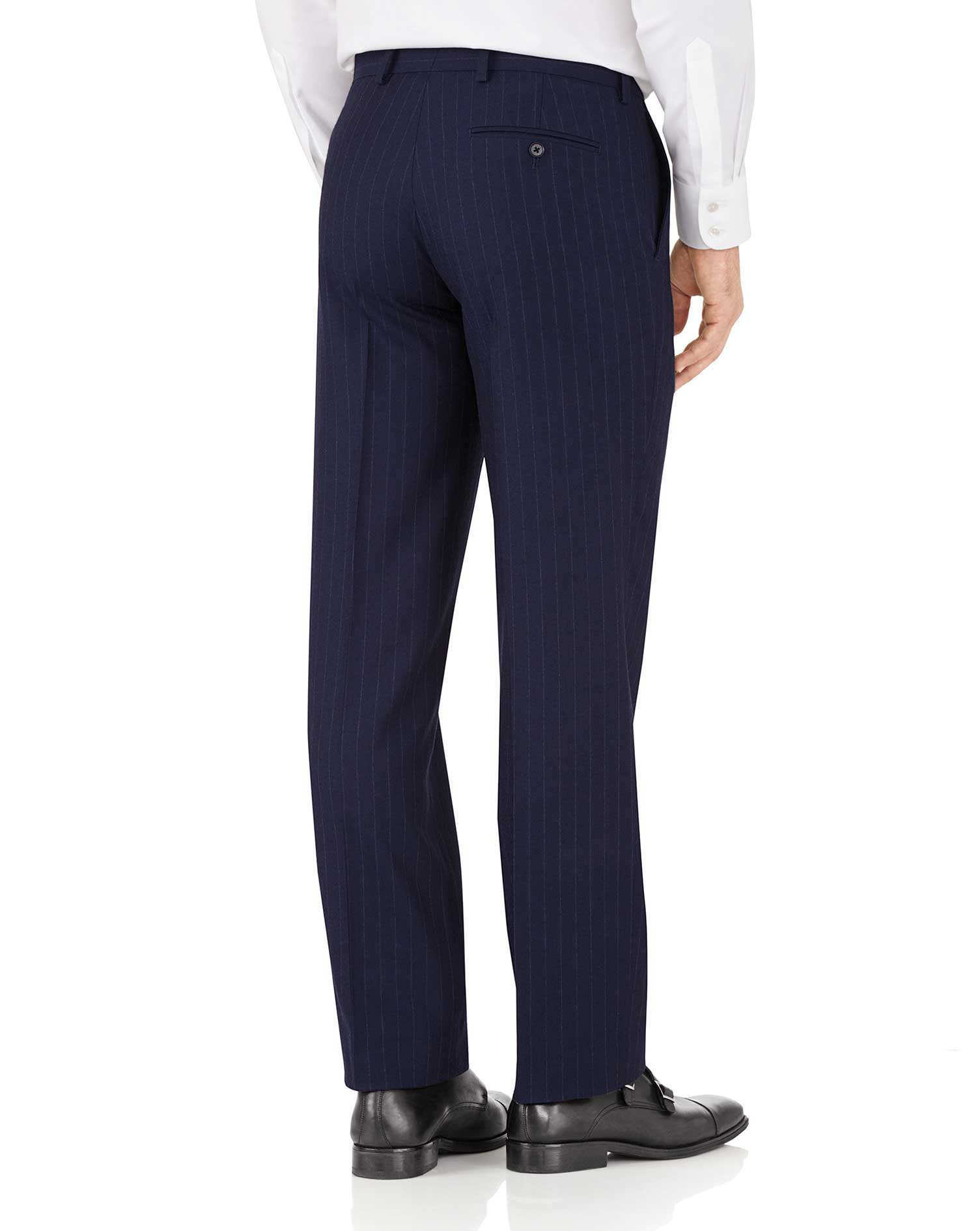Navy stripe classic fit flannel business suit pants