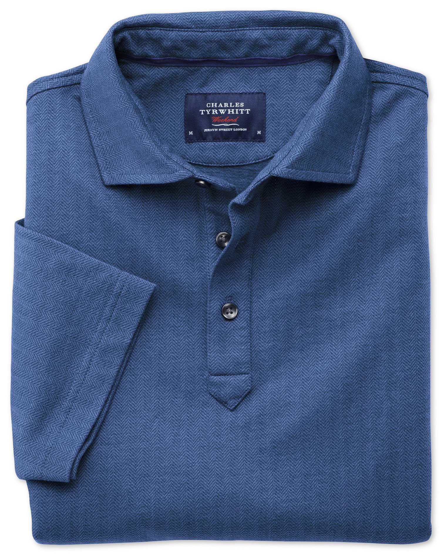 Blue Herringbone Cotton Polo Size Large by Charles Tyrwhitt