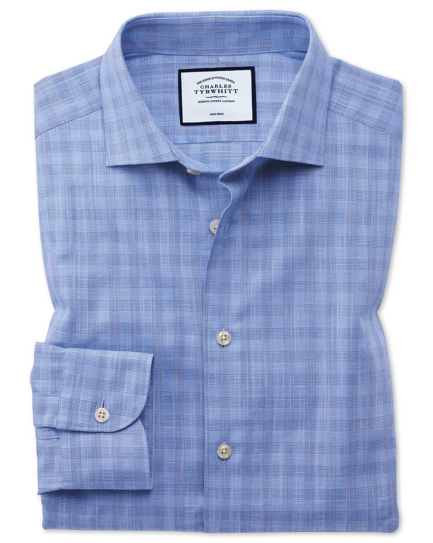 Slim Fit Business Casual Egyptian Cotton Slub Sky Blue Check Formal Shirt Single Cuff Size 18/37 by