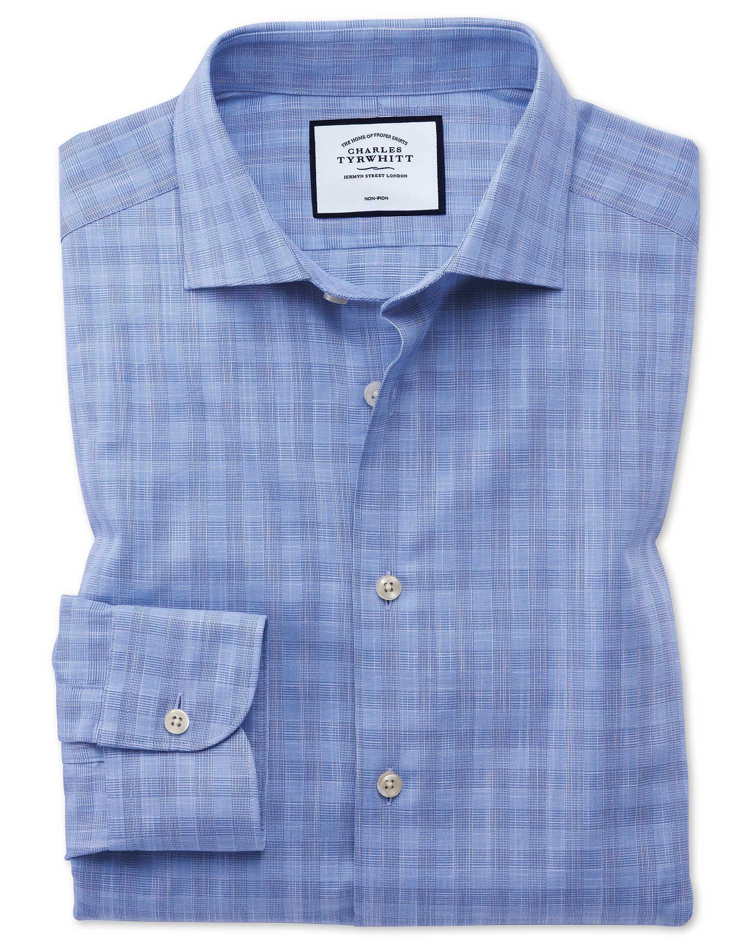 Extra Slim Fit Business Casual Egyptian Cotton Slub Sky Blue Check Formal Shirt Single Cuff Size 16/