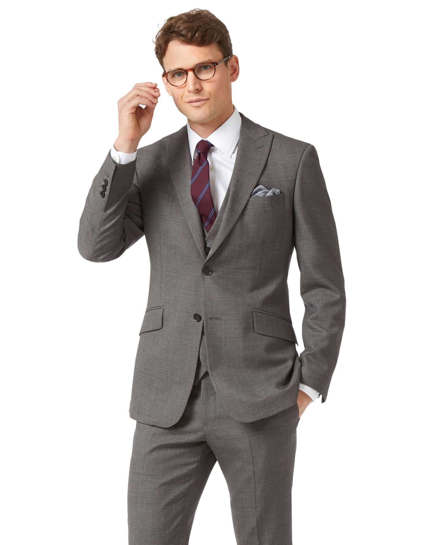 Grey Slim Jaspe Business Suit Wool Jacket Size 40 Short by Charles Tyrwhitt
