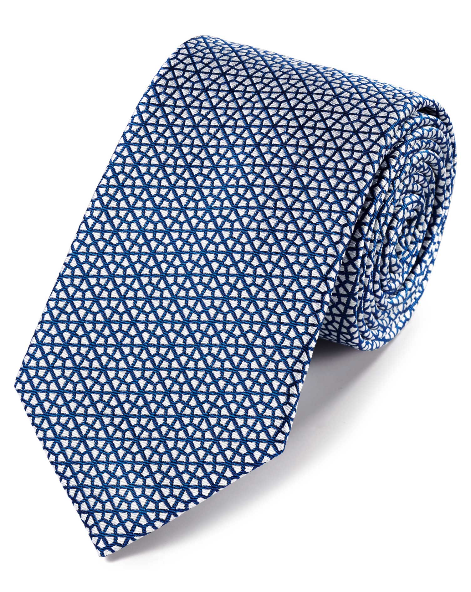 Royal Blue and White Silk Geometric Classic Tie Size OSFA by Charles Tyrwhitt