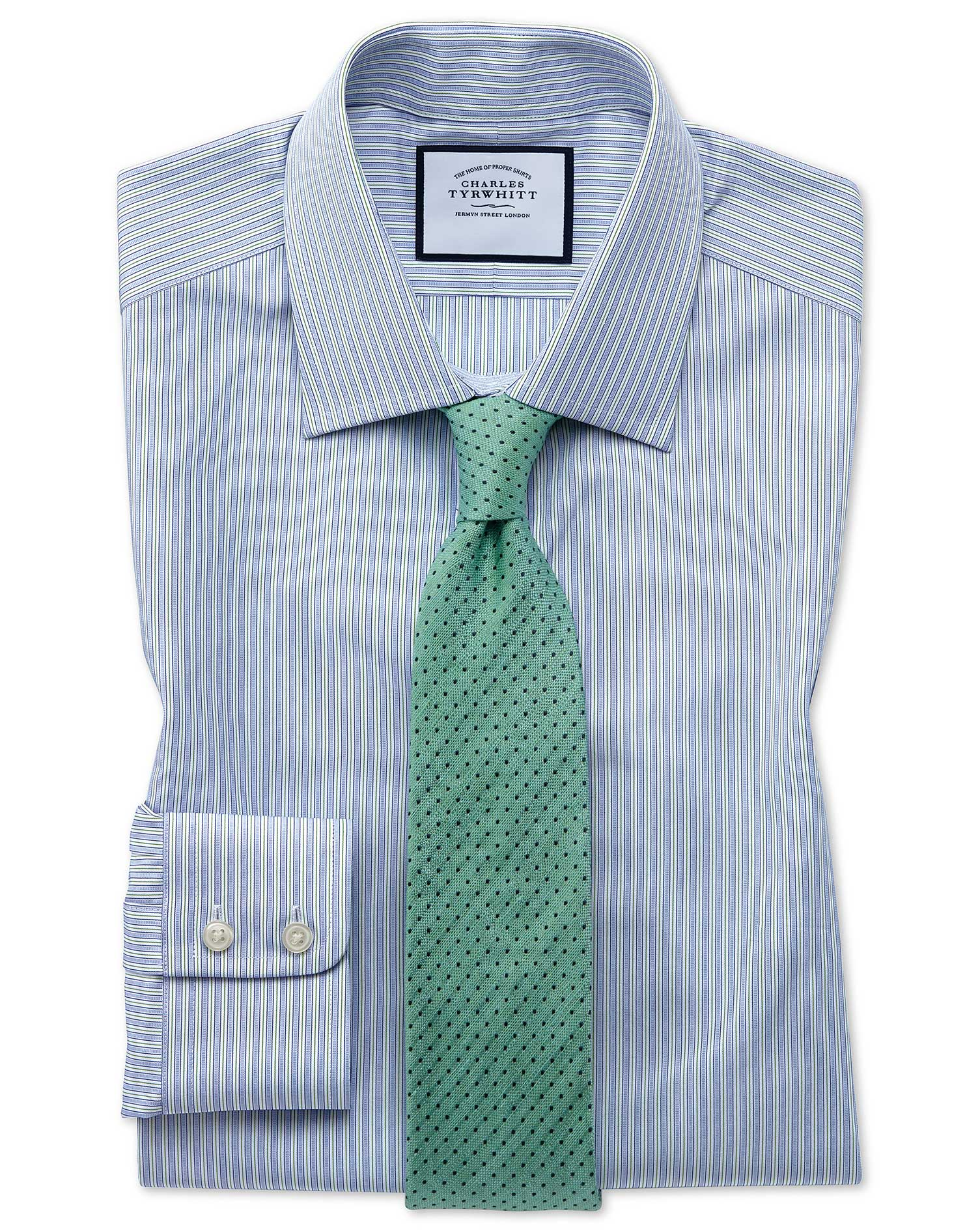 Slim Fit Egyptian Cotton Poplin Blue and Green Fine Stripe Formal Shirt Single Cuff Size 15/35 by Ch