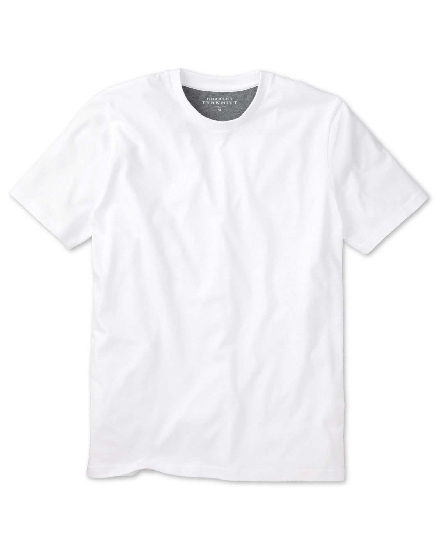 White cotton t shirt charles tyrwhitt for Who makes the best white t shirts