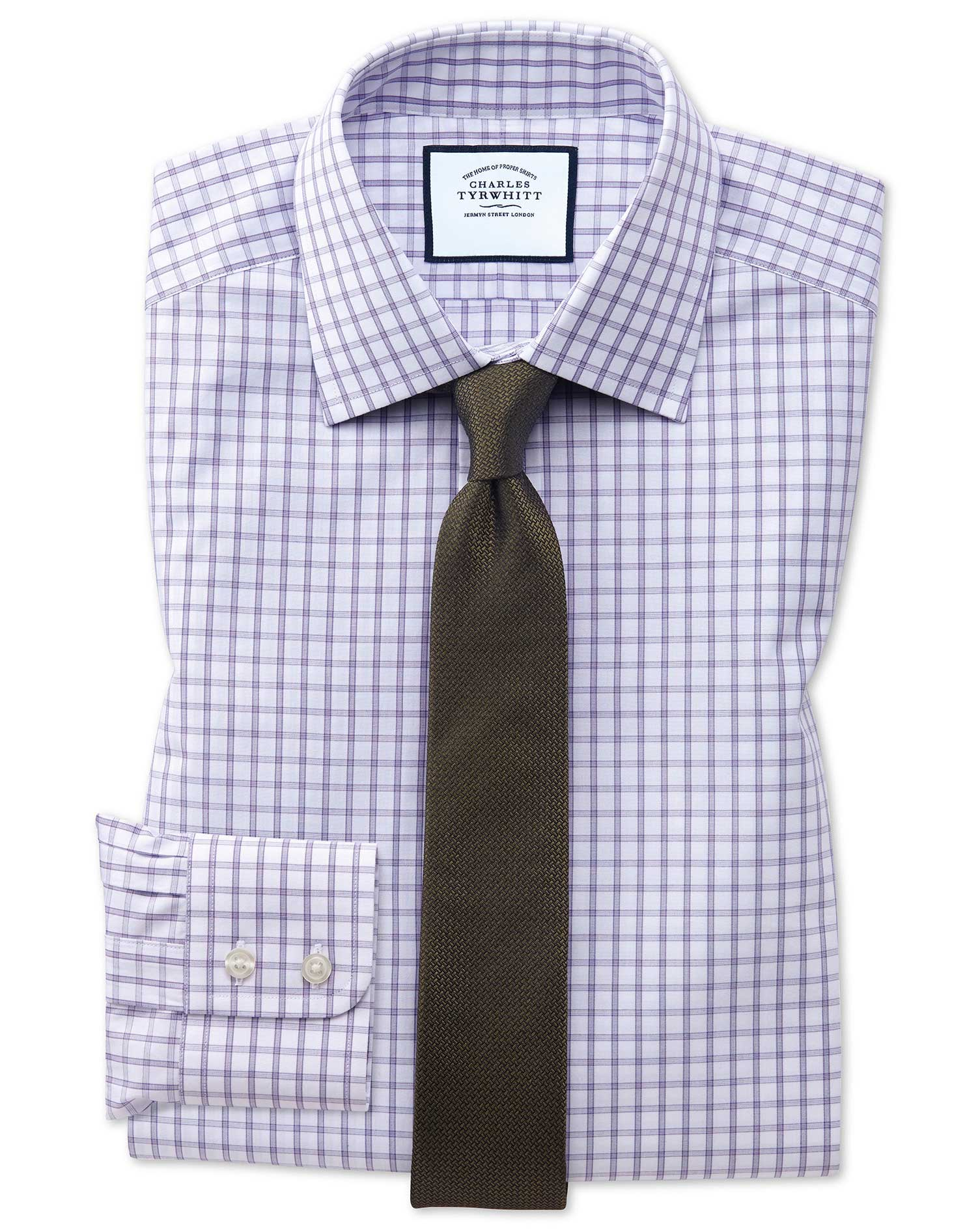 Extra Slim Fit Purple Windowpane Check Cotton Formal Shirt Single Cuff Size 15.5/34 by Charles Tyrwh