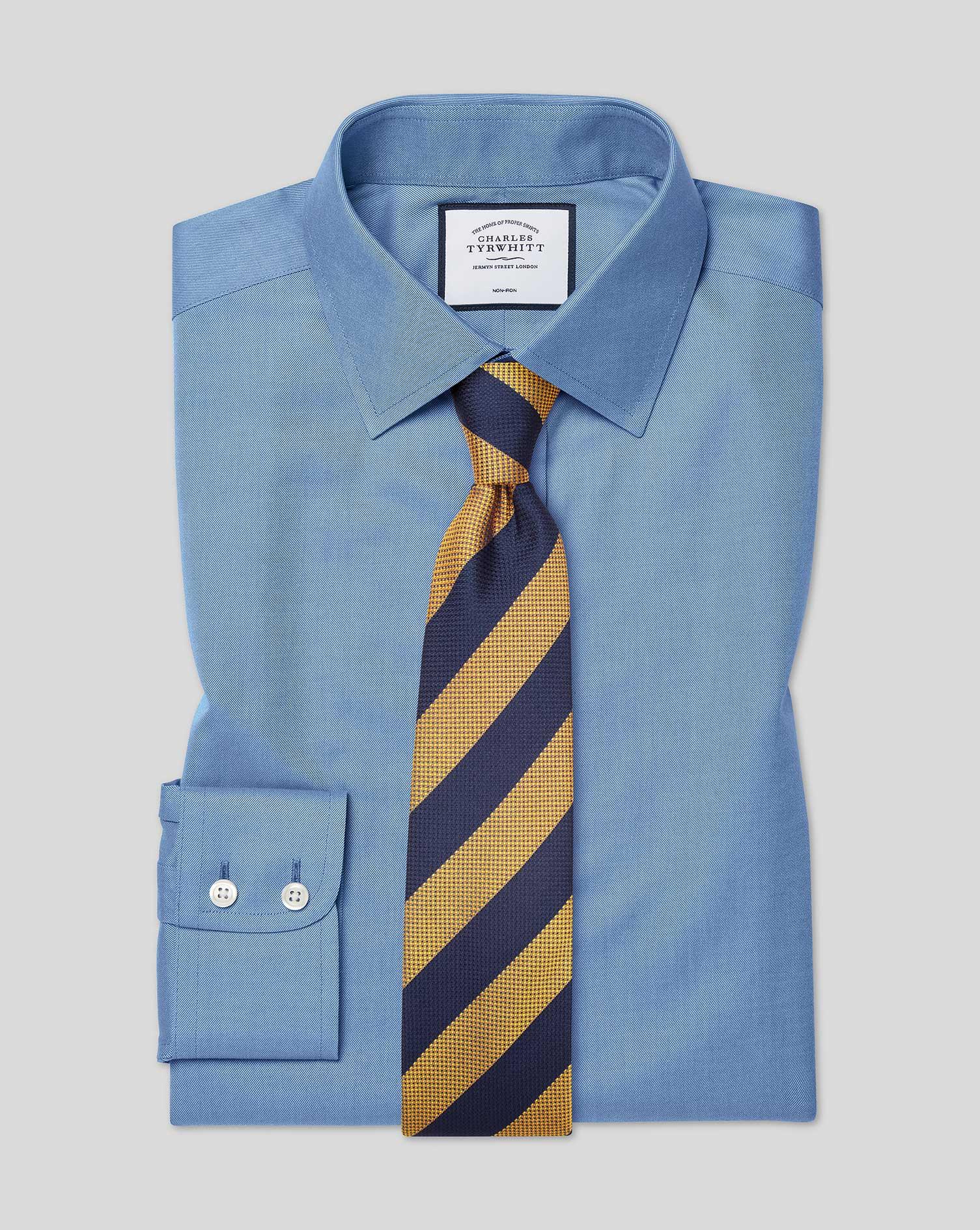 Cotton Classic Fit Non-Iron Twill Blue Shirt