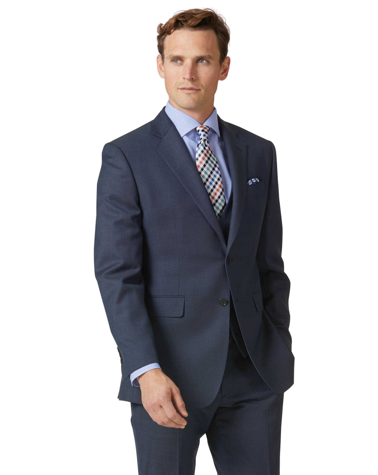 Airforce blue slim fit birdseye travel suit jacket