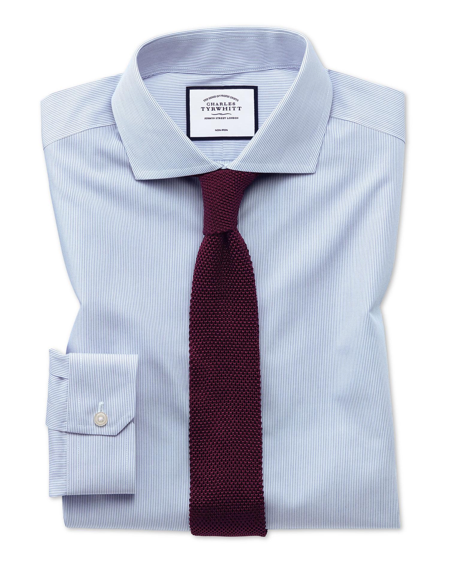 Super Slim Fit Non-Iron Blue Stripe Tyrwhitt Cool Cotton Formal Shirt Single Cuff Size 17/35 by Char