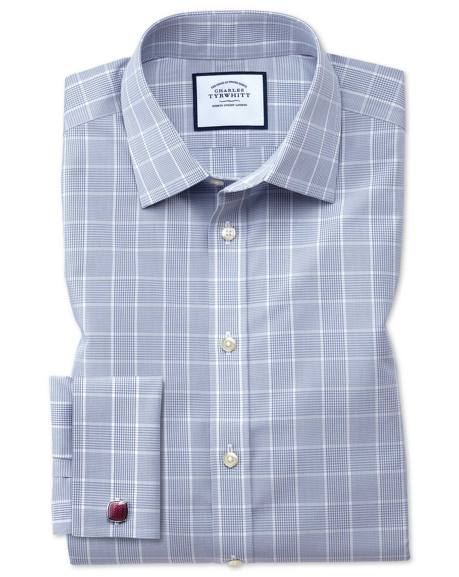 Classic Fit Non-Iron Prince Of Wales Grey Cotton Formal Shirt Single Cuff Size 17/35 by Charles Tyrw