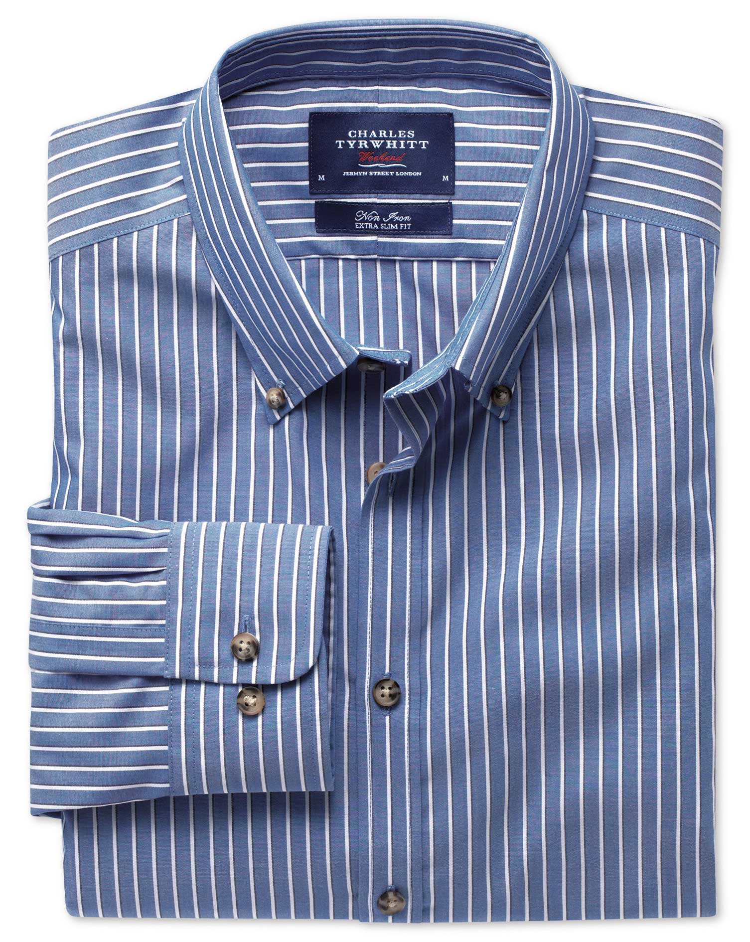 Extra Slim Fit Non-Iron Poplin Blue and White Stripe Cotton Shirt Single Cuff Size XS by Charles Tyr