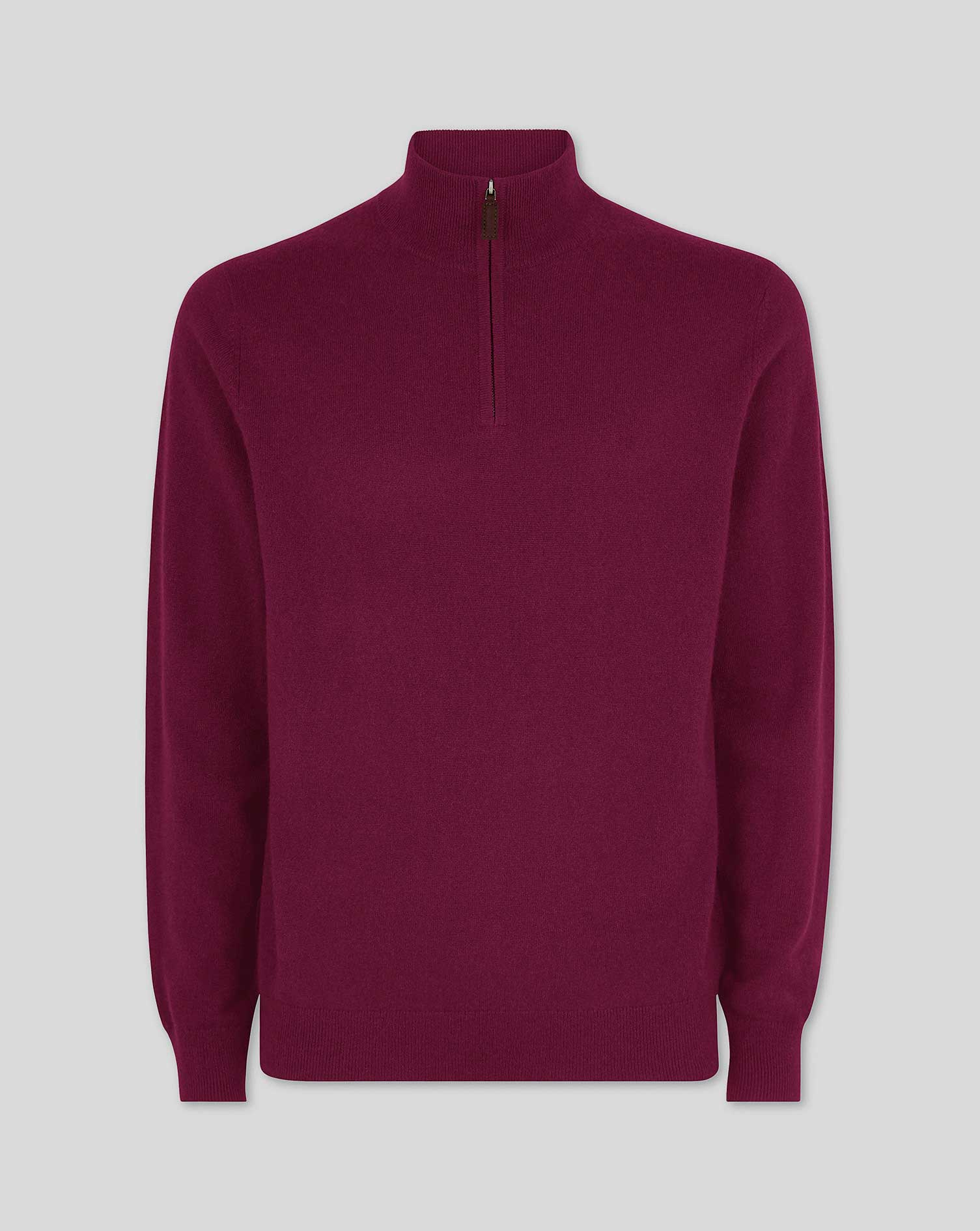 Image of Charles Tyrwhitt Berry Cashmere Zip Neck Jumper Size Small by Charles Tyrwhitt