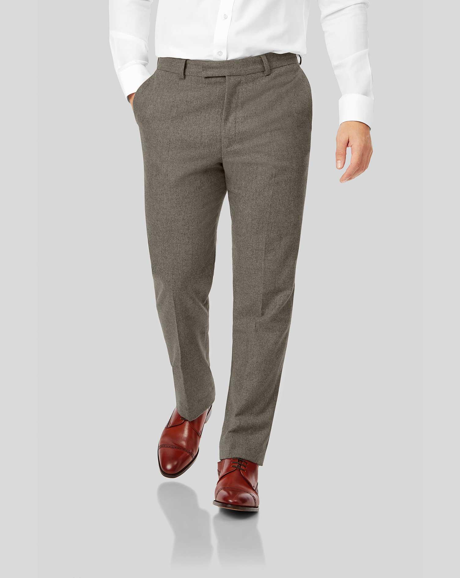 Wool Mocha Flannel Trousers