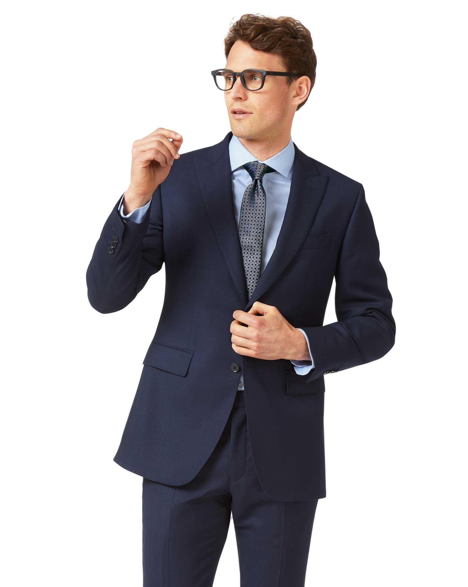 Ink Blue Slim Fit Birdseye Peak Lapel Travel Suit Wool Jacket Size 40 Regular by Charles Tyrwhitt