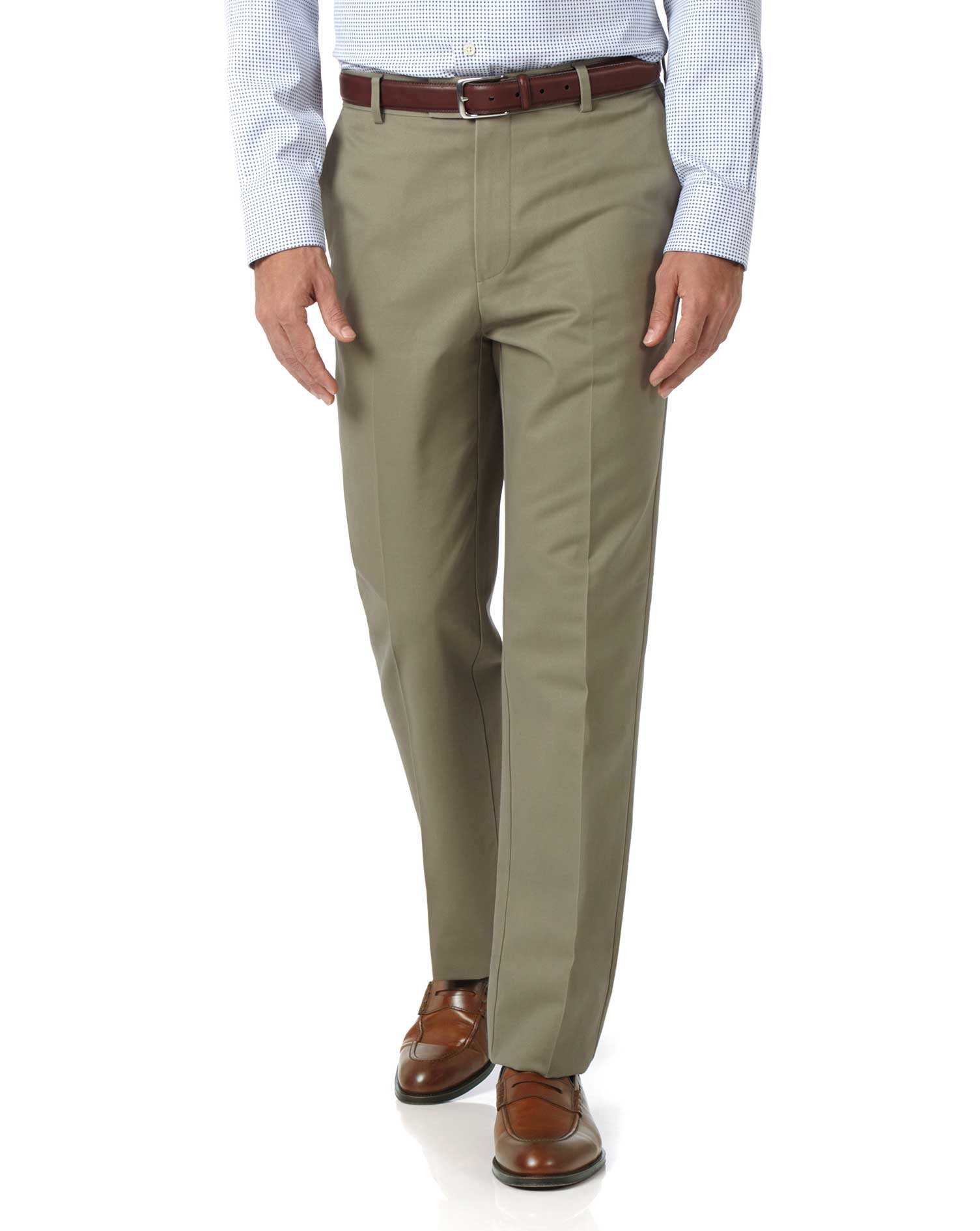 Olive Classic Fit Flat Front Non-Iron Cotton Chino Trousers Size W40 L30 by Charles Tyrwhitt