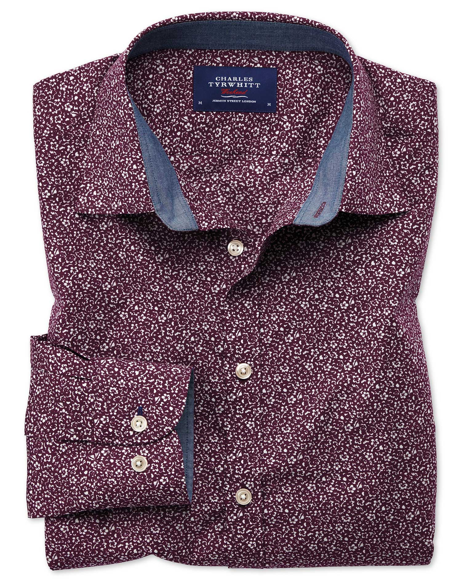 Extra Slim Fit Purple Floral Print Cotton Shirt Single Cuff Size XS by Charles Tyrwhitt
