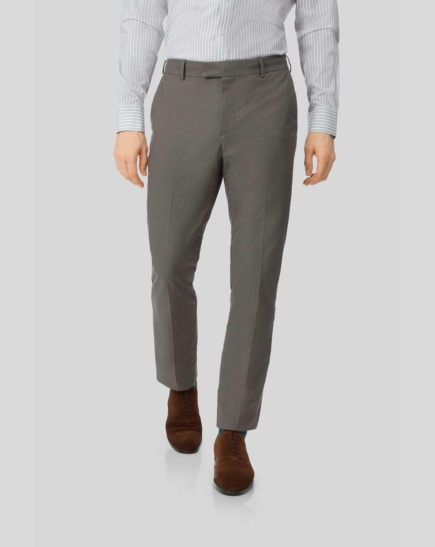 Cotton Non-Iron Stretch Trousers - Dark Brown
