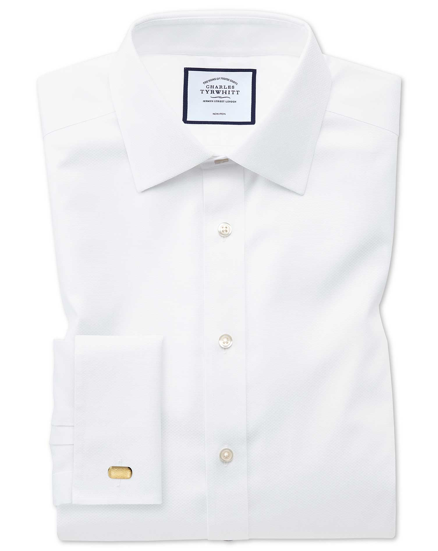 Extra Slim Fit Non-Iron White Triangle Weave Cotton Formal Shirt Double Cuff Size 16/34 by Charles T