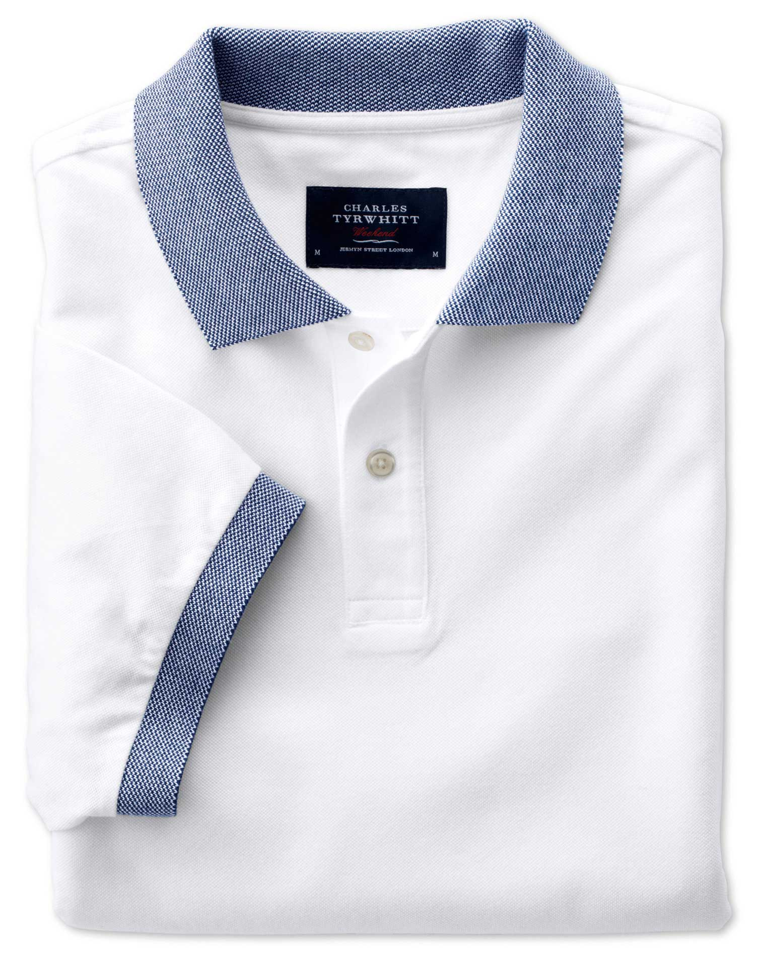 White Oxford Cotton Polo Size Large by Charles Tyrwhitt