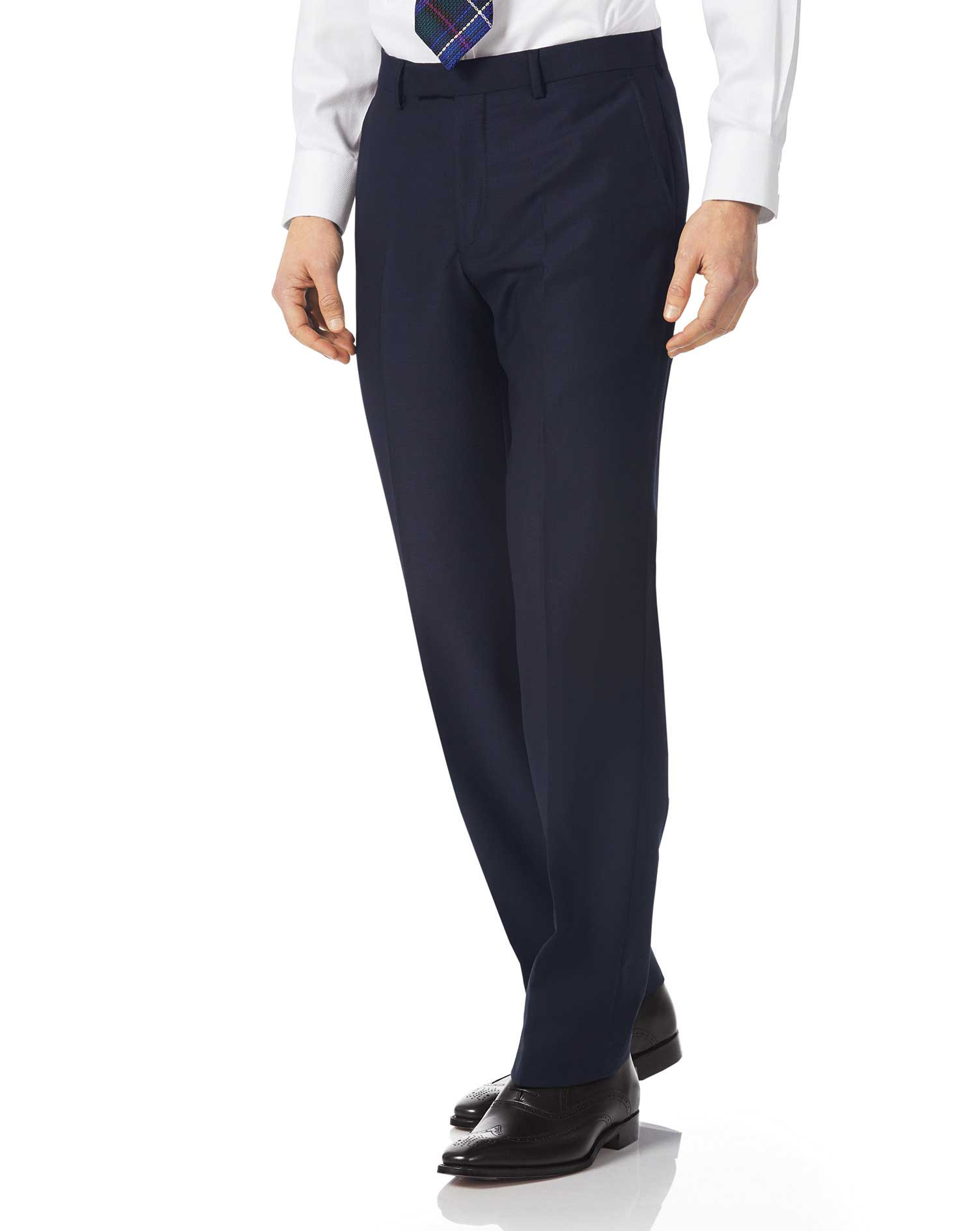 Navy classic fit textured Italian suit trousers