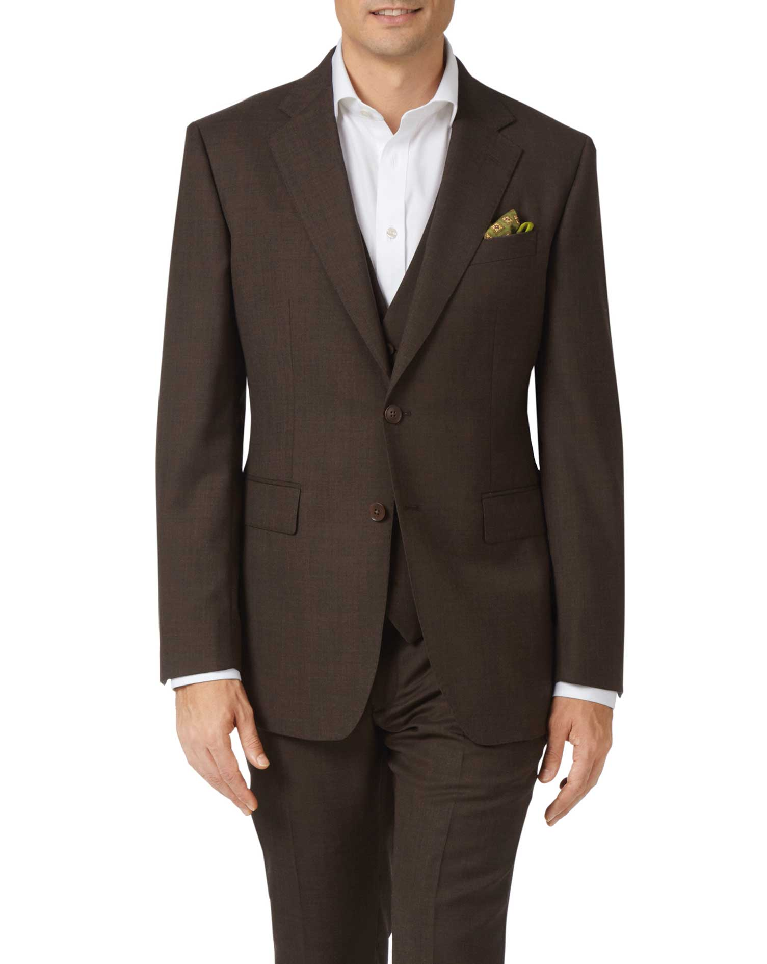 Chocolate Slim Fit Sharkskin Travel Suit Wool Jacket Size 44 Long by Charles Tyrwhitt