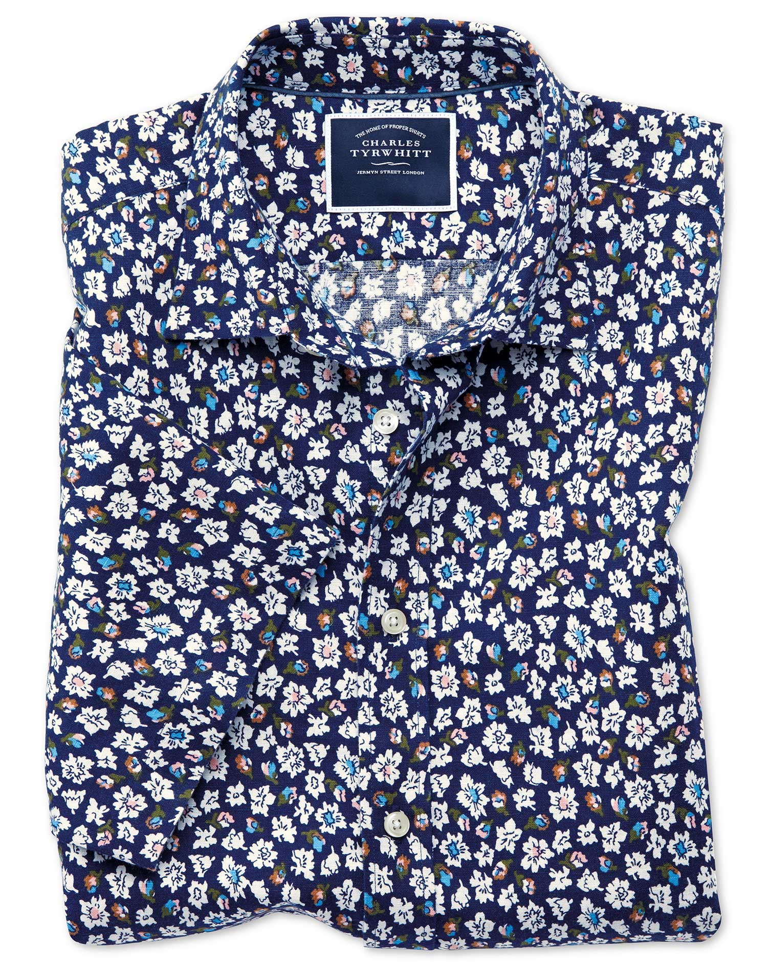 Classic Fit Floral Print Navy Short Sleeve Linen Cotton Shirt Single Cuff Size Large by Charles Tyrw