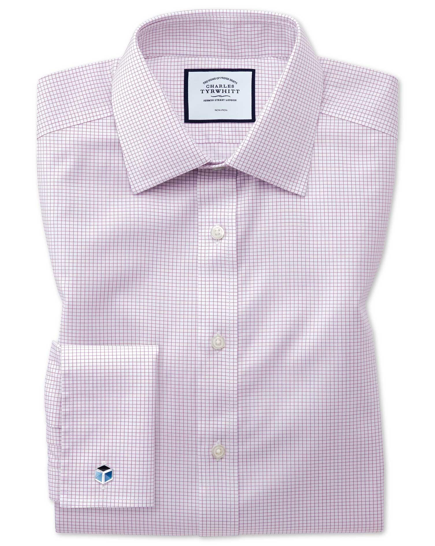 Extra Slim Fit Non-Iron Twill Mini Grid Check Purple Cotton Formal Shirt Single Cuff Size 17/35 by C