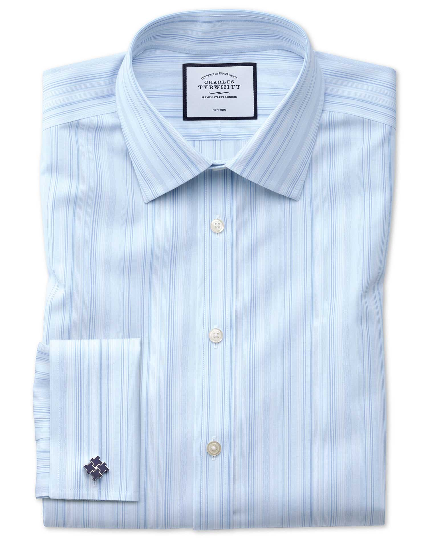 Slim Fit Non-Iron Blue Multi Stripe Cotton Formal Shirt Double Cuff Size 17/34 by Charles Tyrwhitt