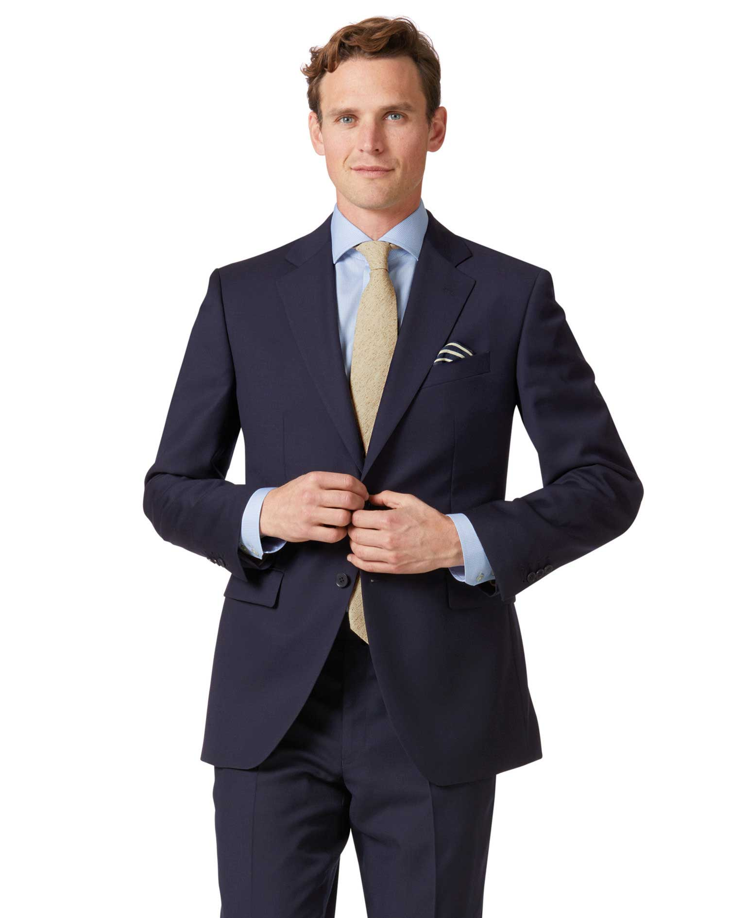 Navy Classic Fit Twill Business Suit Wool Jacket Size 44 Short by Charles Tyrwhitt