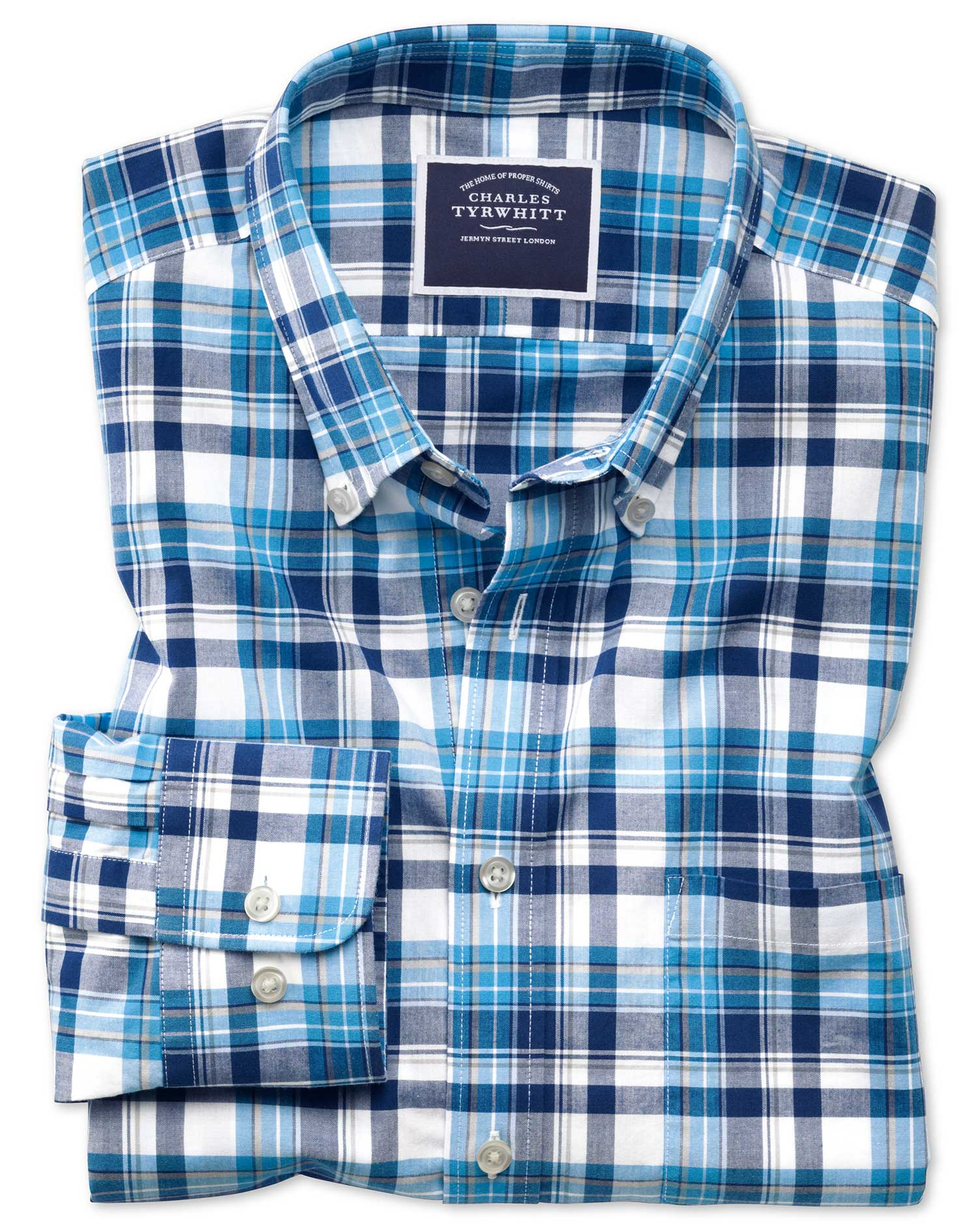 Classic Fit Poplin Navy Multi Cotton Shirt Single Cuff Size XL by Charles Tyrwhitt