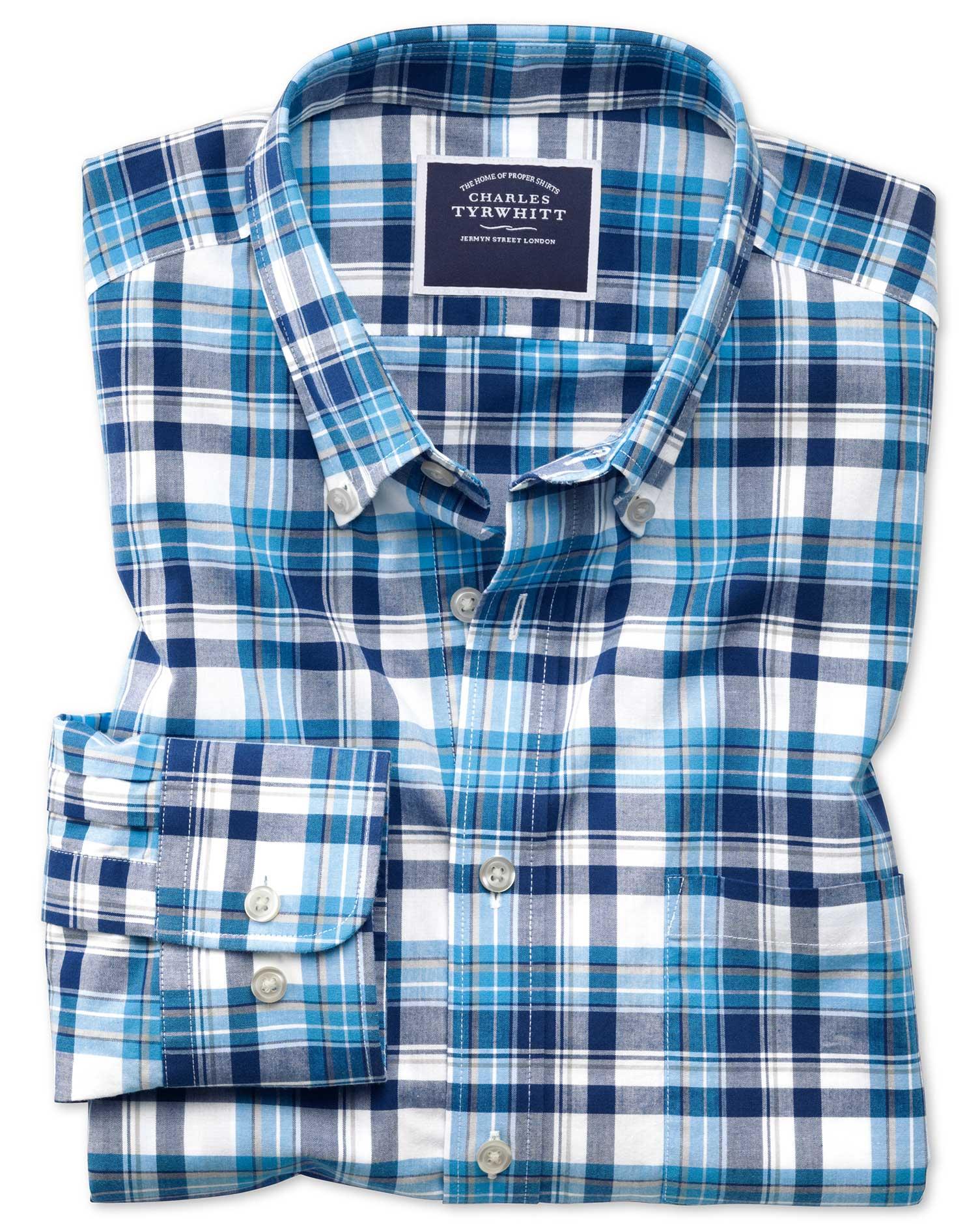 Slim Fit Poplin Navy Multi Cotton Shirt Single Cuff Size Medium by Charles Tyrwhitt