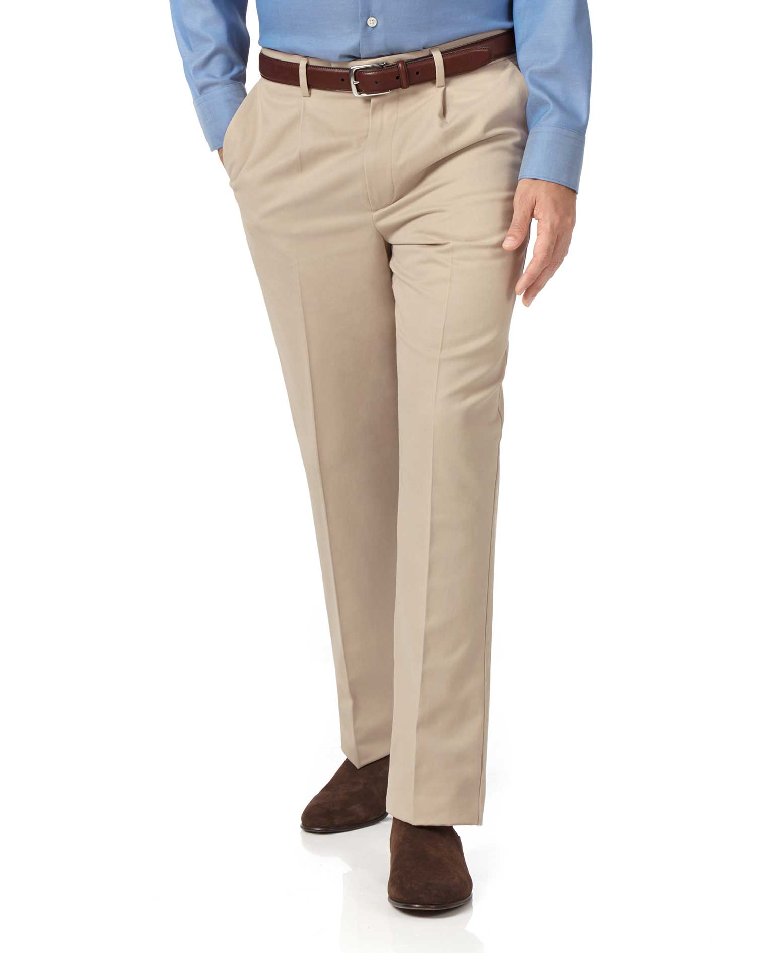 Stone Classic Fit Single Pleat Non-Iron Cotton Chino Trousers Size W36 L34 by Charles Tyrwhitt