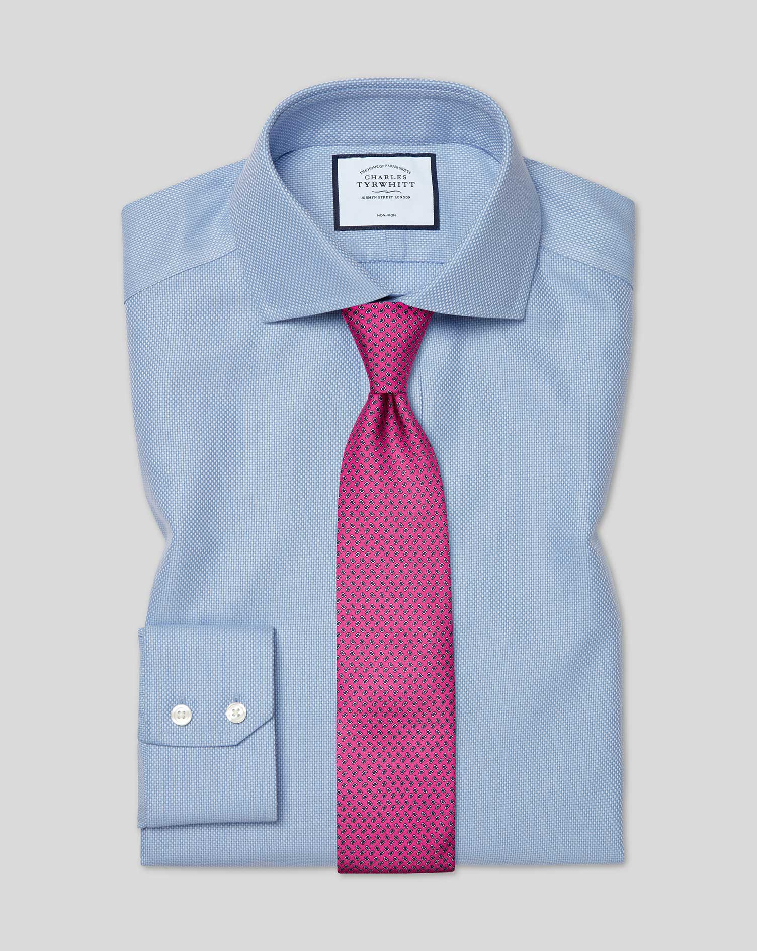 Cotton Cutaway Collar Non-Iron Buckingham Weave Shirt - Blue