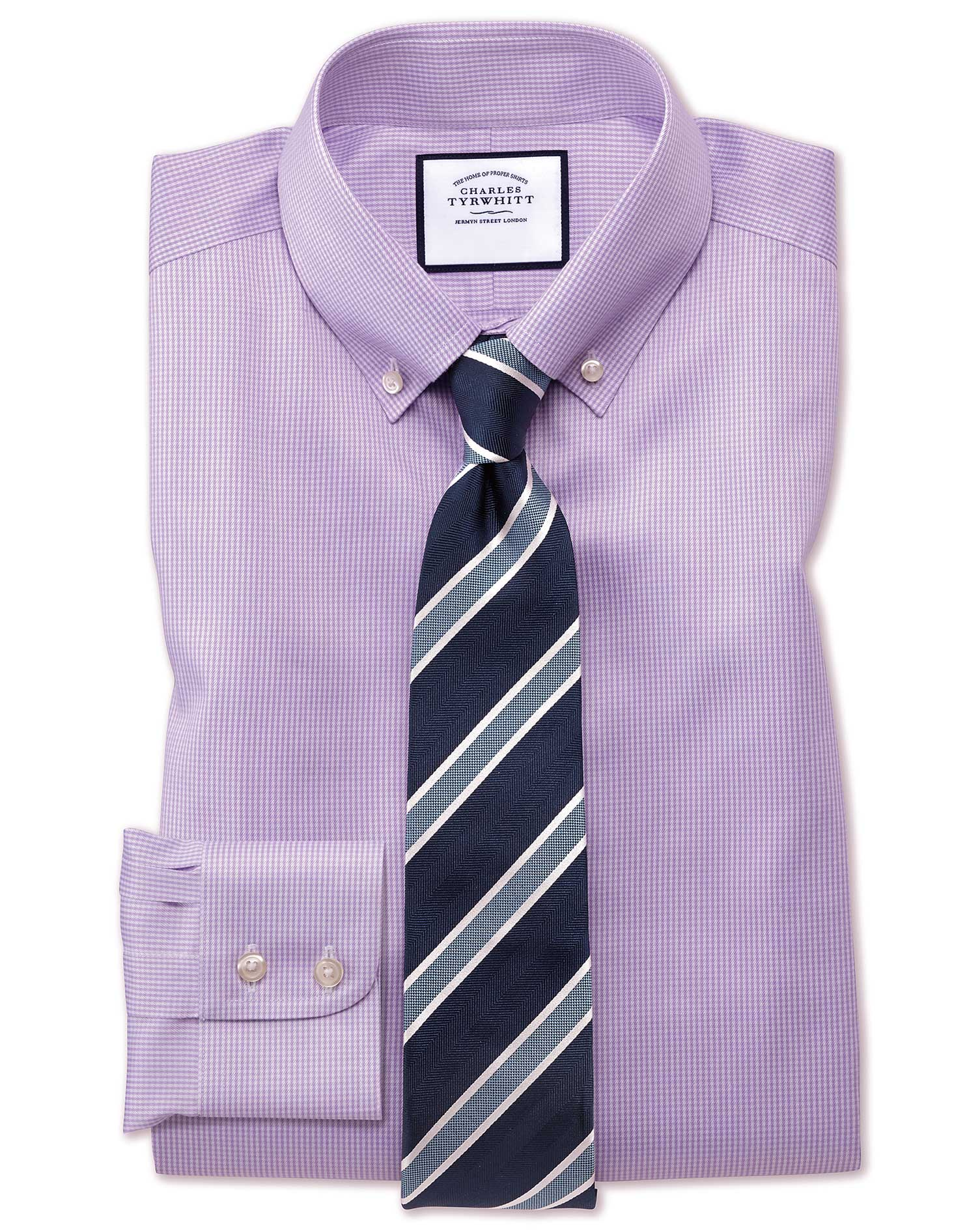 Extra Slim Fit Button-Down Non-Iron Twill Puppytooth Lilac Cotton Formal Shirt Single Cuff Size 15/3