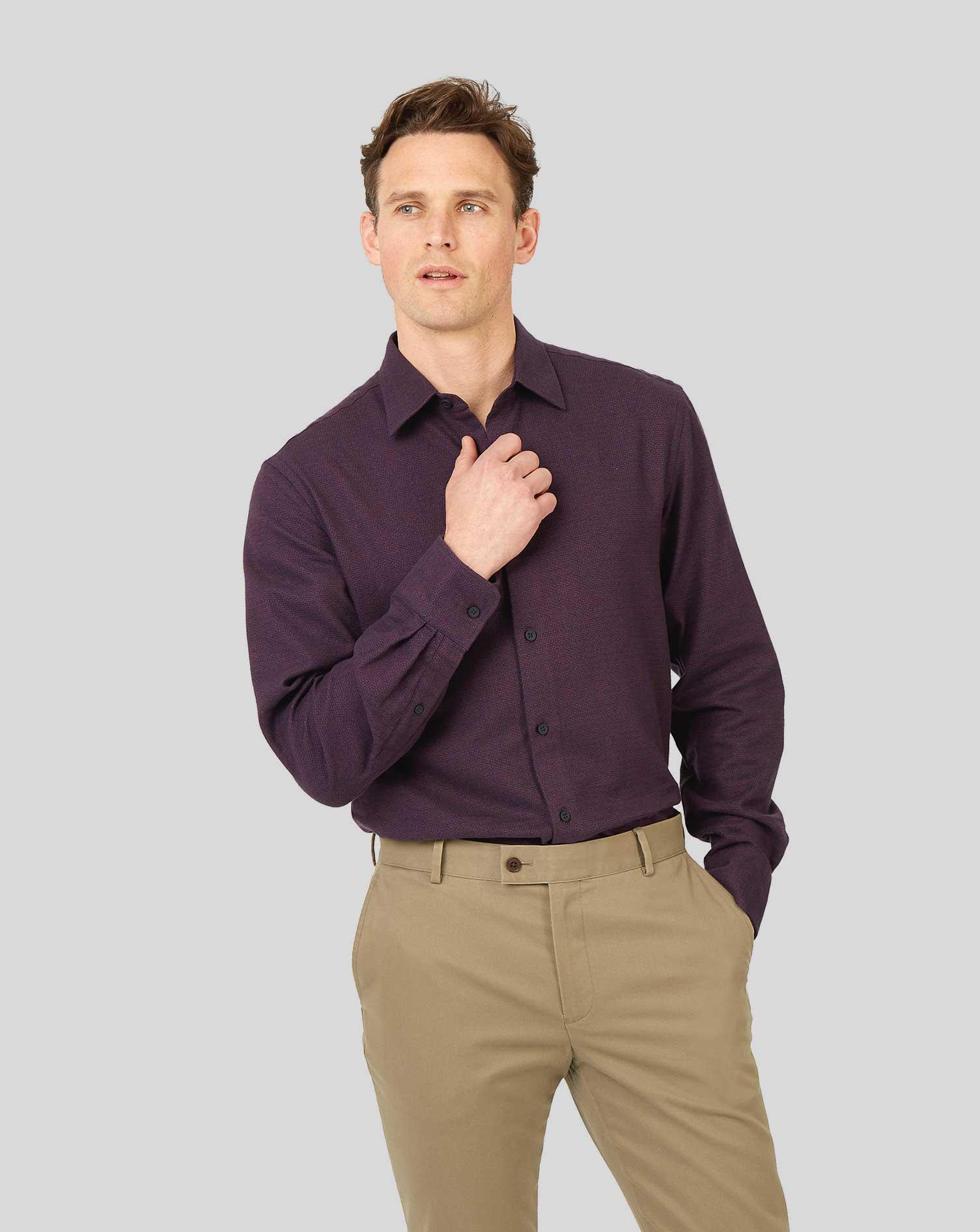 Image of Charles Tyrwhitt Classic Collar Dobby Flannel Textured Cotton Shirt - Berry & Navy Single Cuff Size Medium by Charles Tyrwhitt