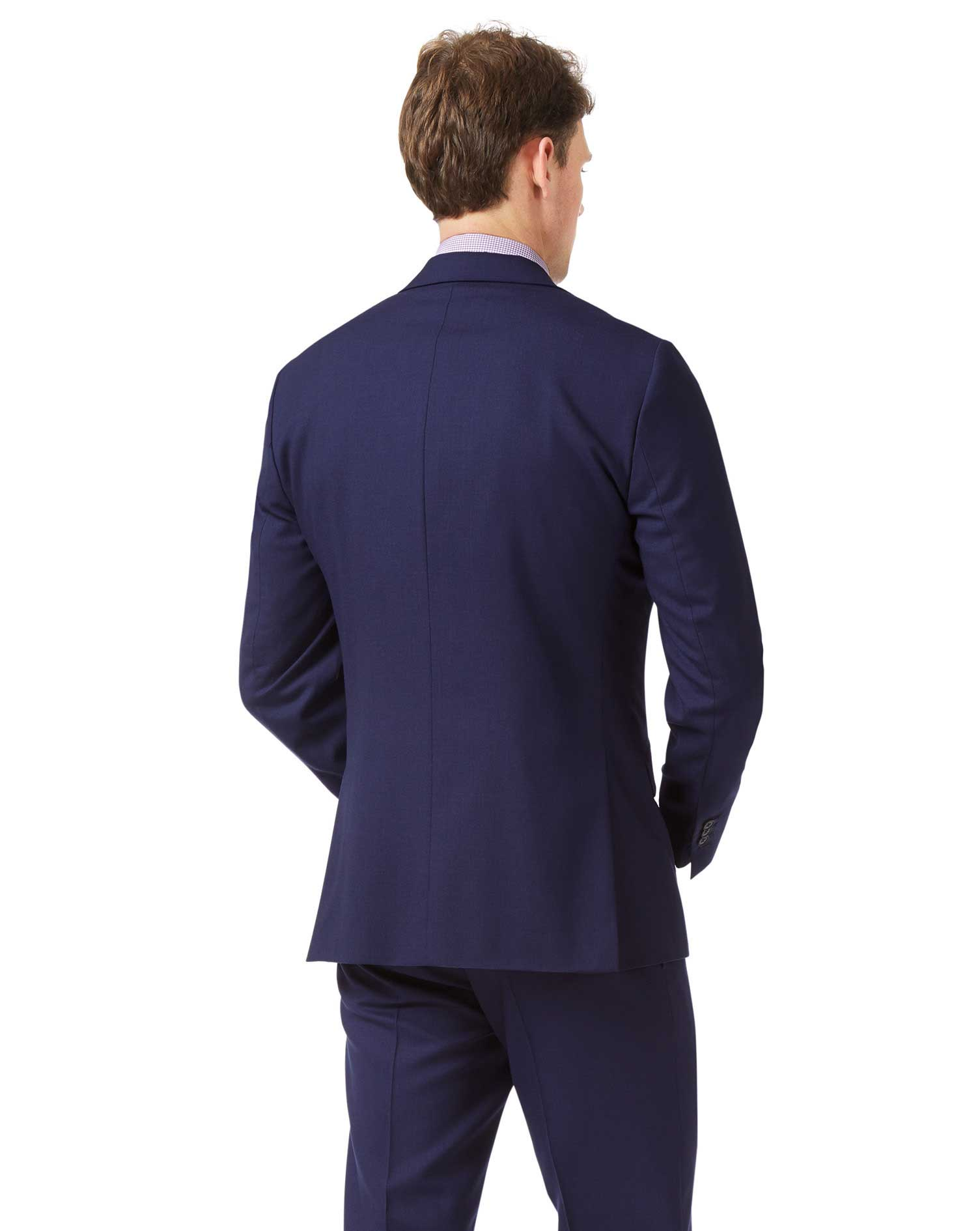 Royal blue slim fit merino business suit jacket