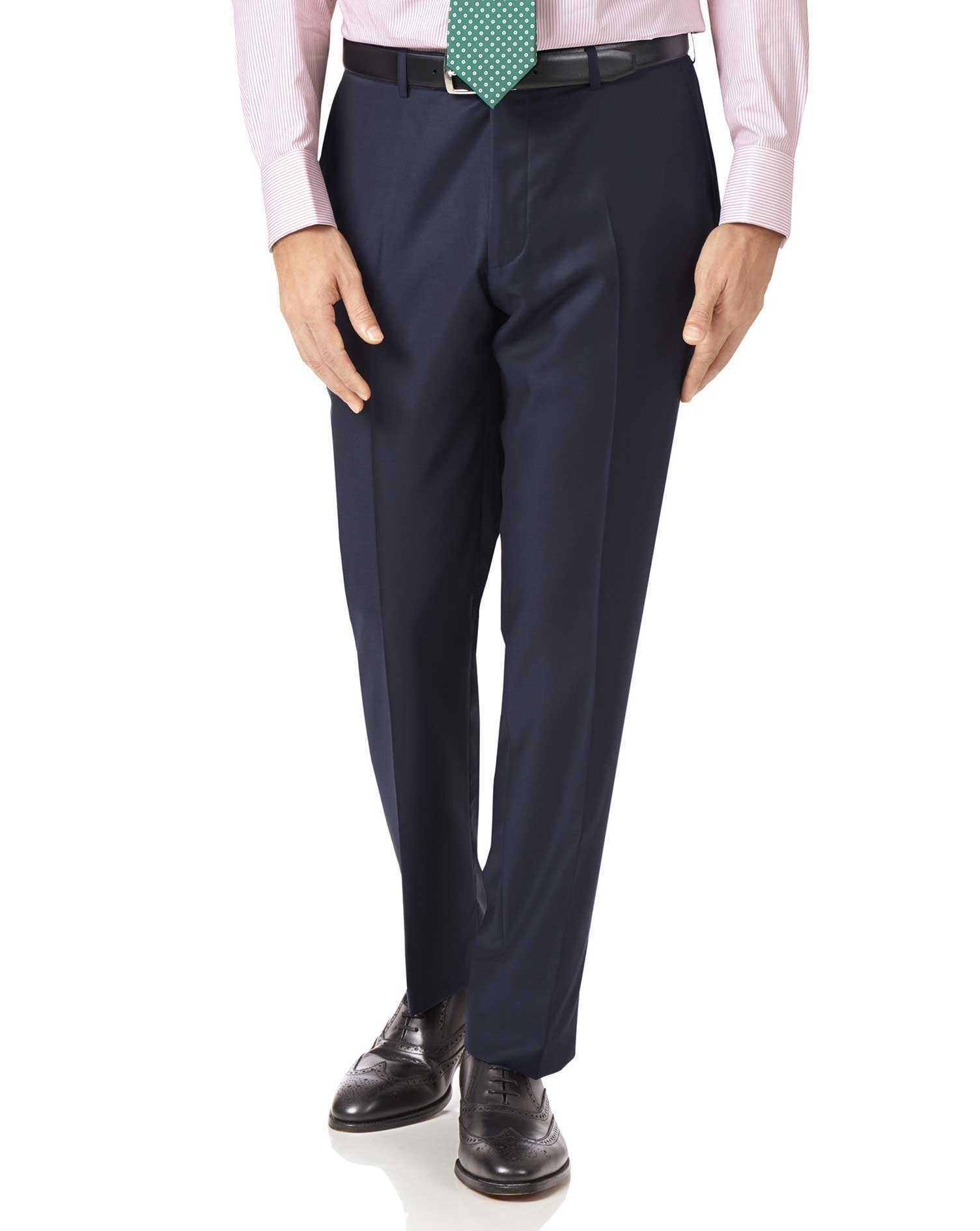 Navy Slim Fit Luxury Italian Suit Trousers Size W34 L38 by Charles Tyrwhitt