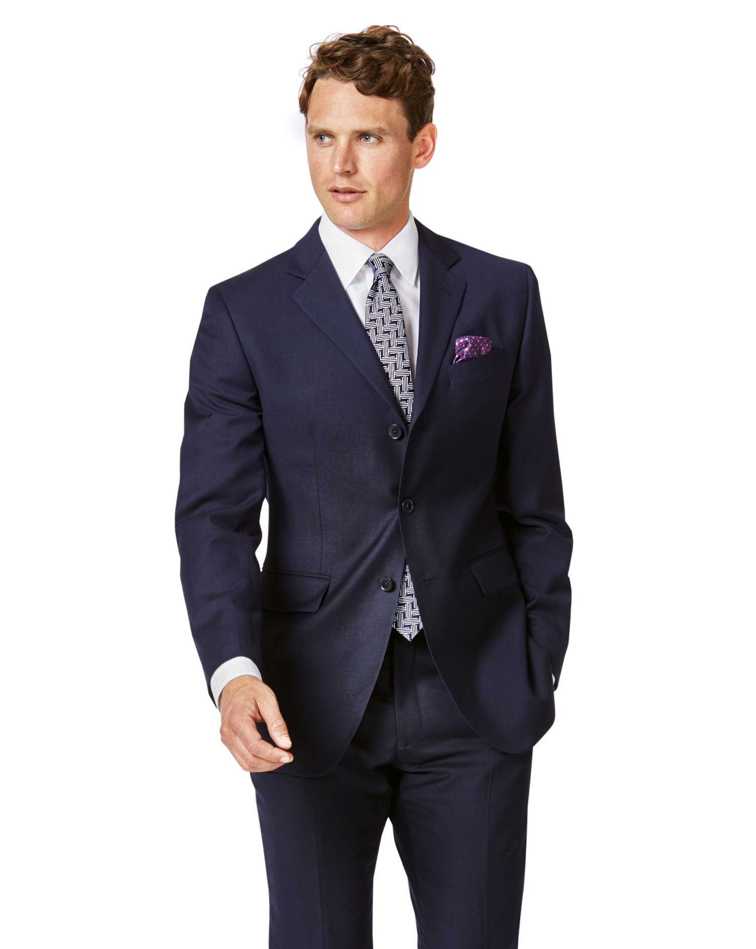 Navy Slim Fit Twill Single Breasted 3-Button Business Suit Wool Jacket Size 38 Long by Charles Tyrwh
