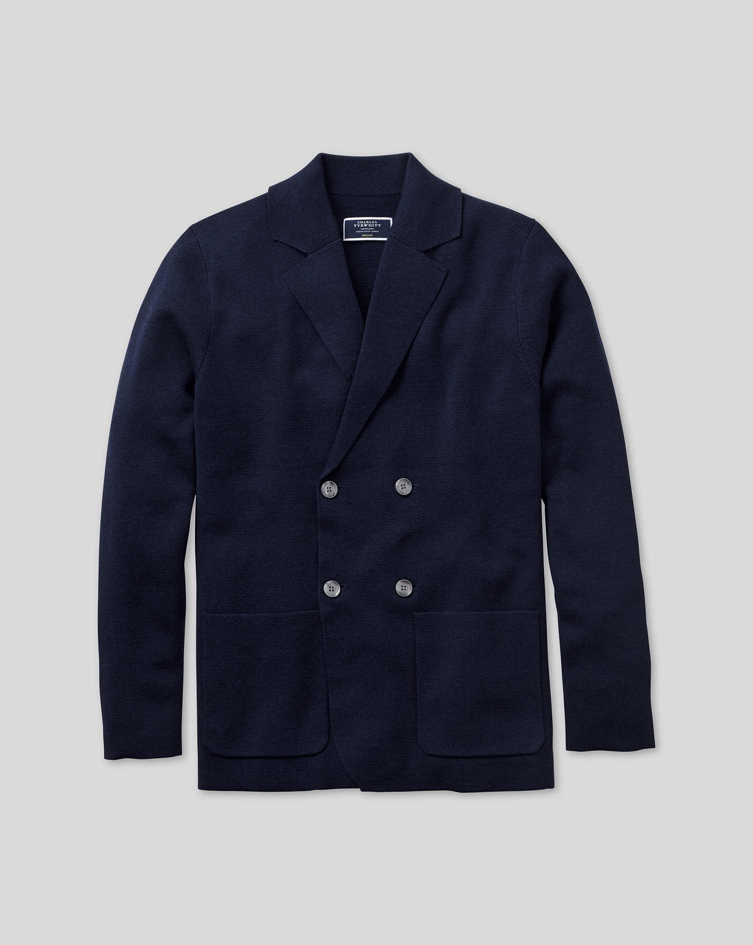 Navy Merino Wool Double Breasted Blazer Size XL by Charles Tyrwhitt