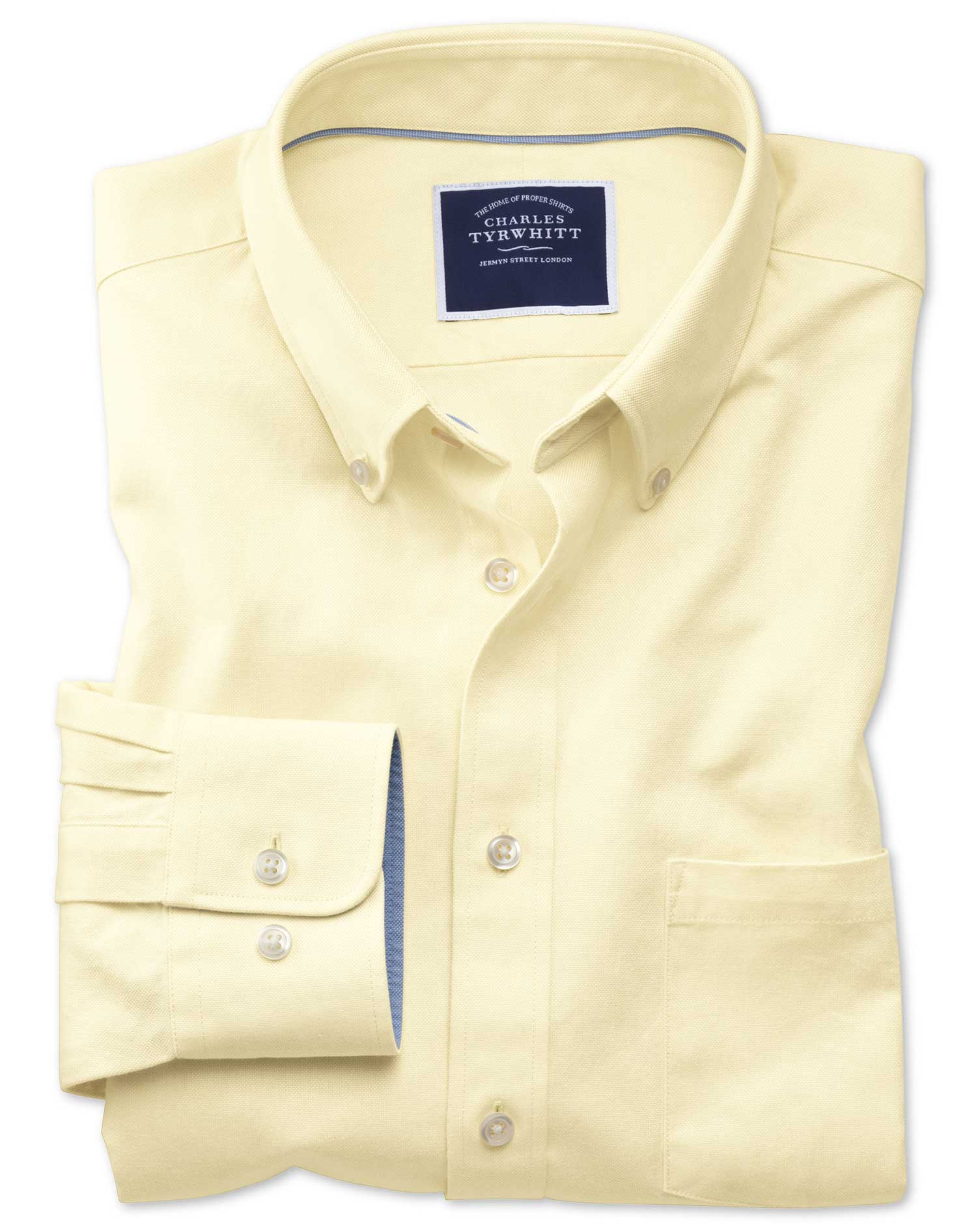 Slim Fit Button-Down Washed Oxford Plain Light Yellow Cotton Shirt Single Cuff Size Small by Charles
