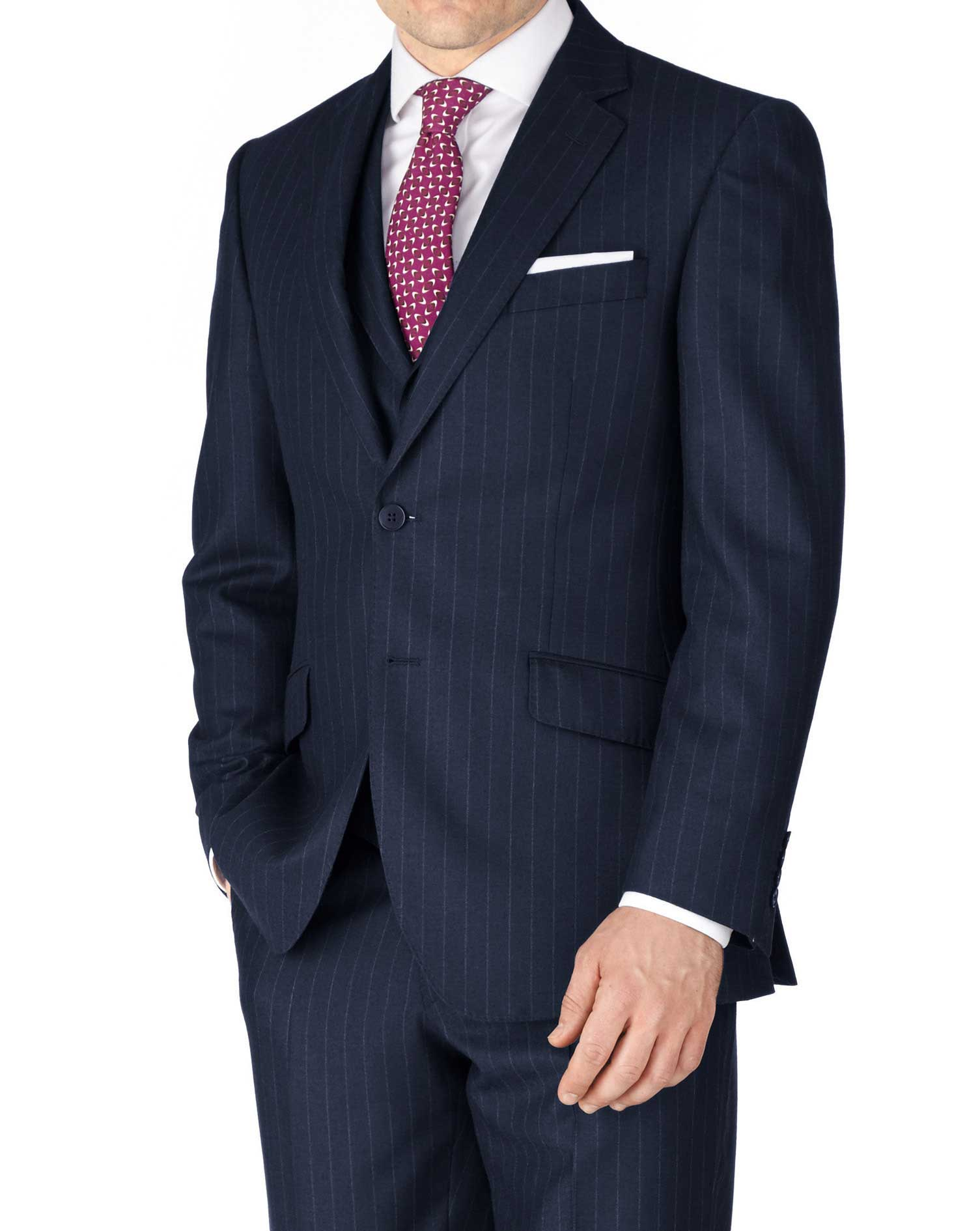 Navy Classic Fit Saxony Business Suit Wool Jacket Size 48 Regular by Charles Tyrwhitt