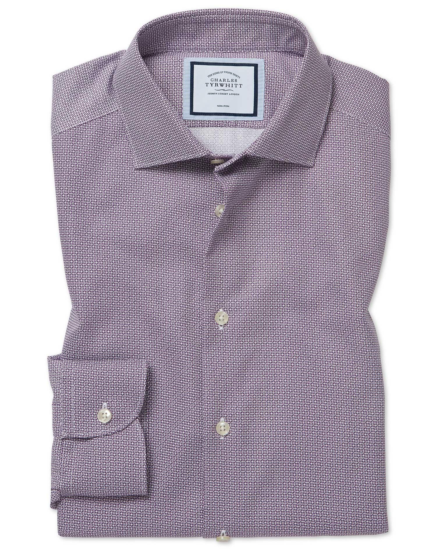 Cotton Classic Fit Non-Iron Spot Print Purple Shirt