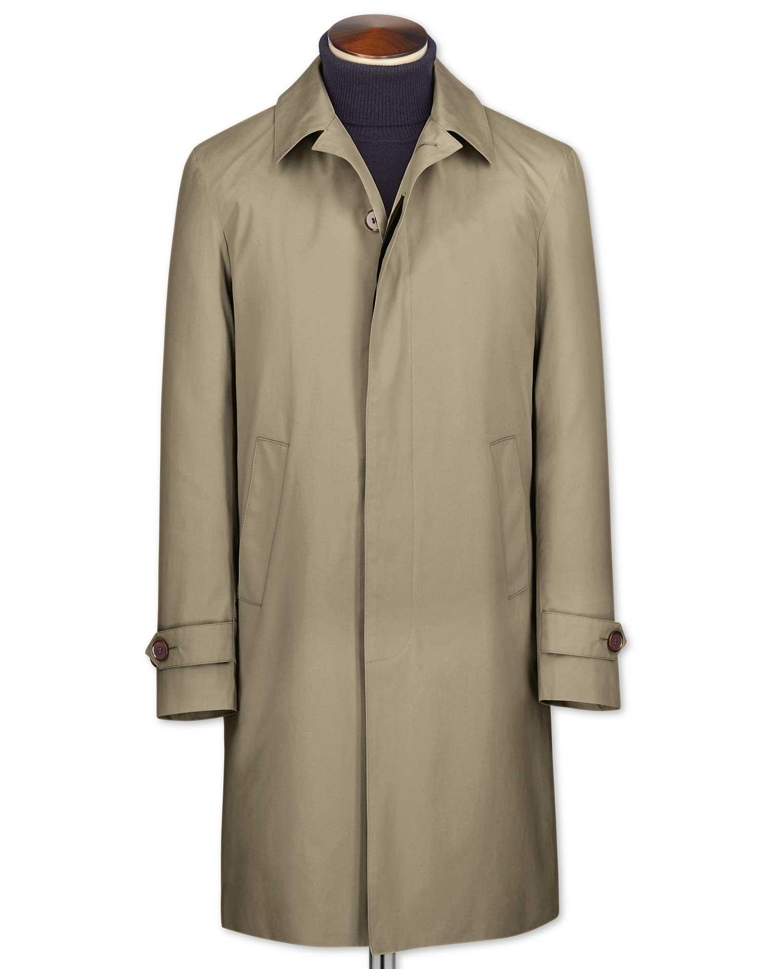 Classic Fit Stone RainCotton coat Size 46 Regular by Charles Tyrwhitt
