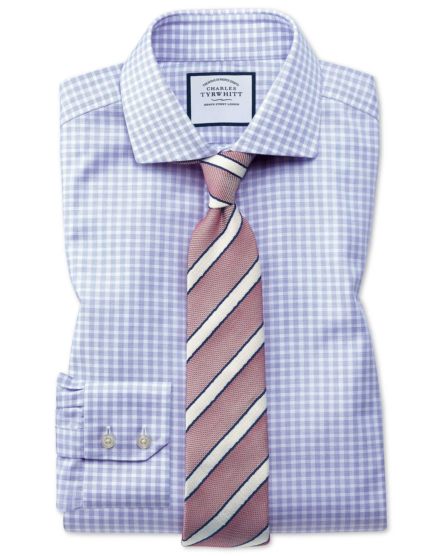 Extra Slim Fit Cutaway Collar Non-Iron Cotton Stretch Oxford Blue Check Formal Shirt Single Cuff Siz