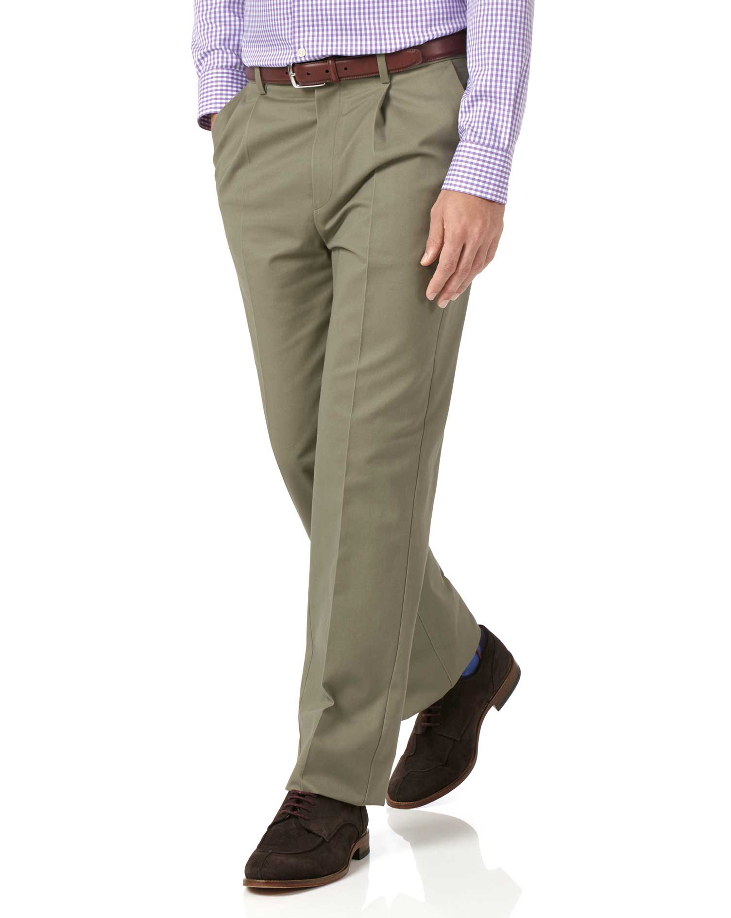 Olive Classic Fit Single Pleat Non-Iron Cotton Chino Trousers Size W34 L34 by Charles Tyrwhitt