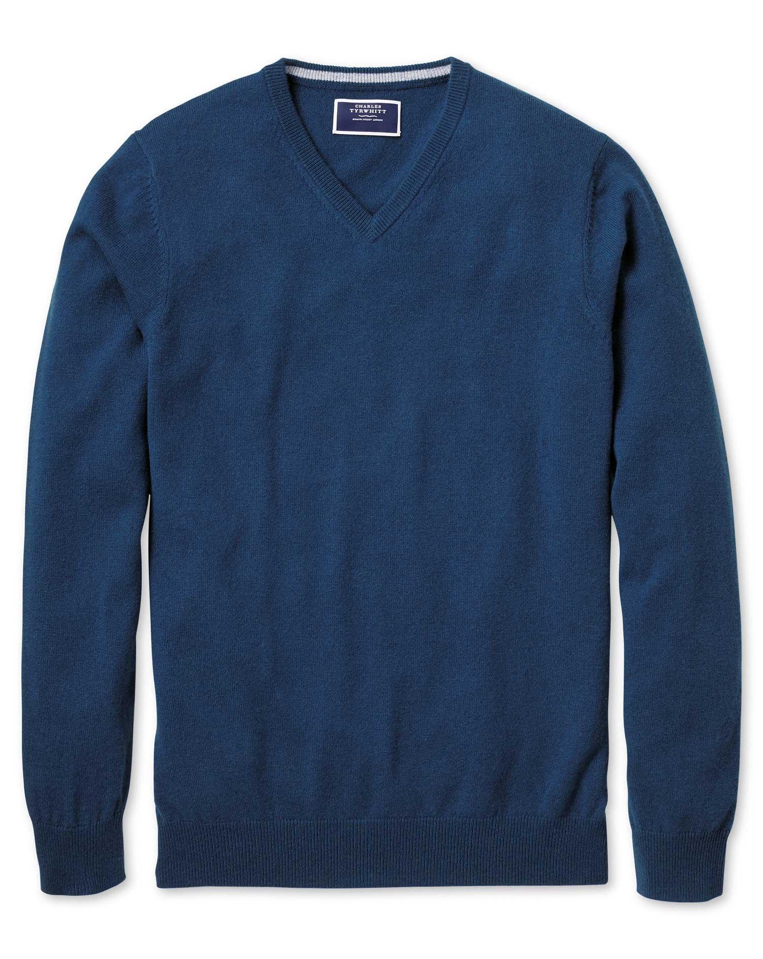 Blue V-Neck Cashmere Jumper Size Large by Charles Tyrwhitt