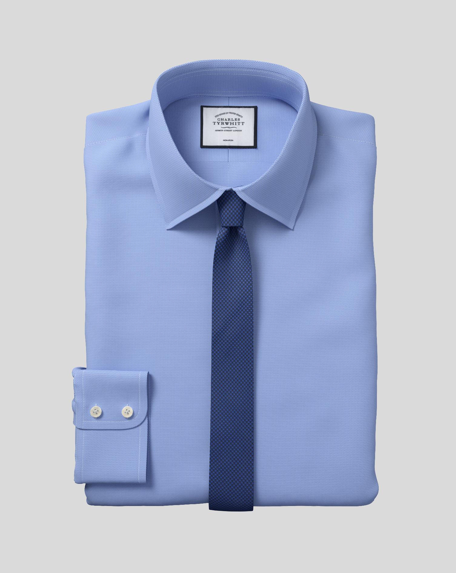 Extra Slim Fit Non Iron Royal Panama Blue Shirt Charles