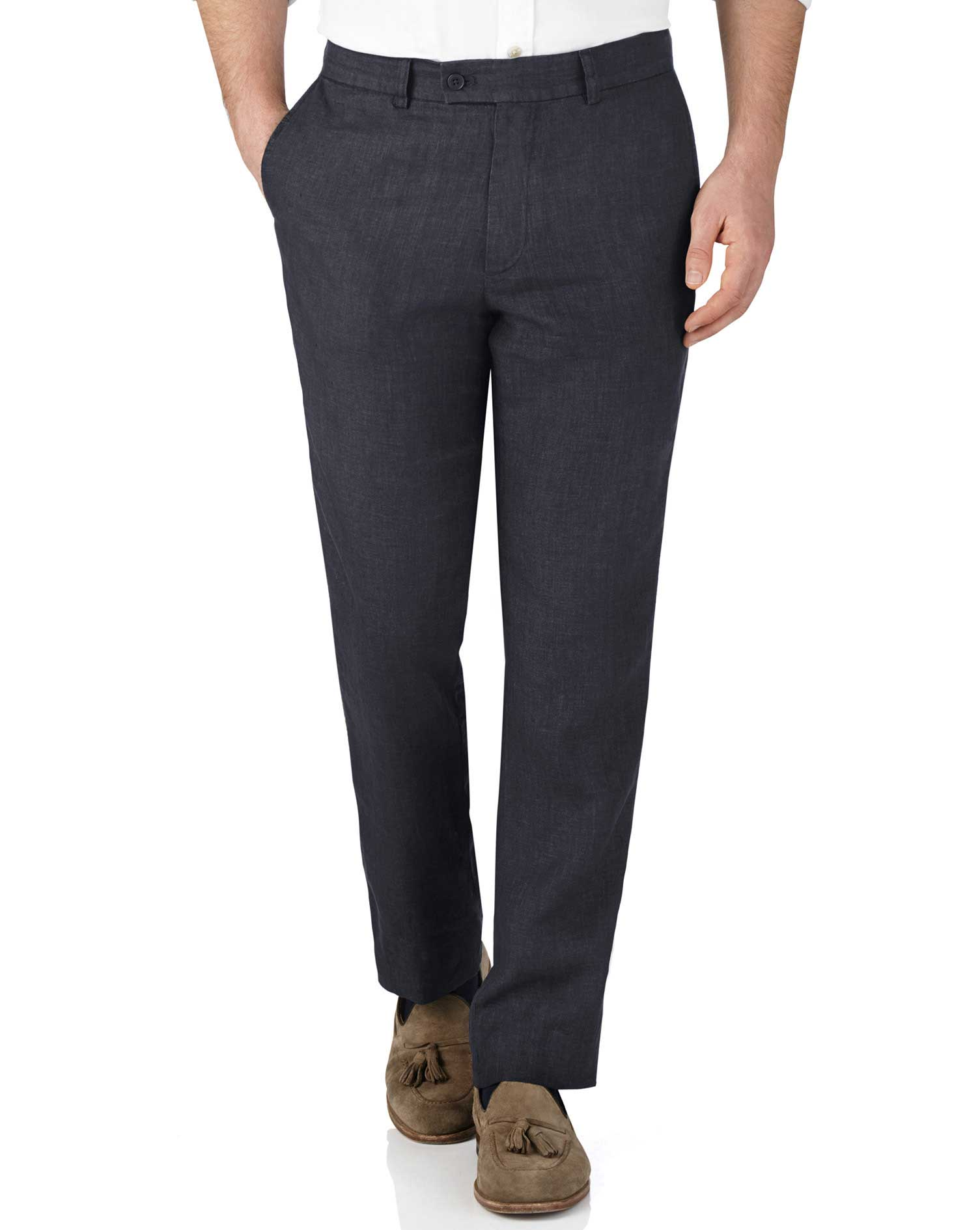 Navy Slim Fit Linen Trousers Size W38 L32 by Charles Tyrwhitt