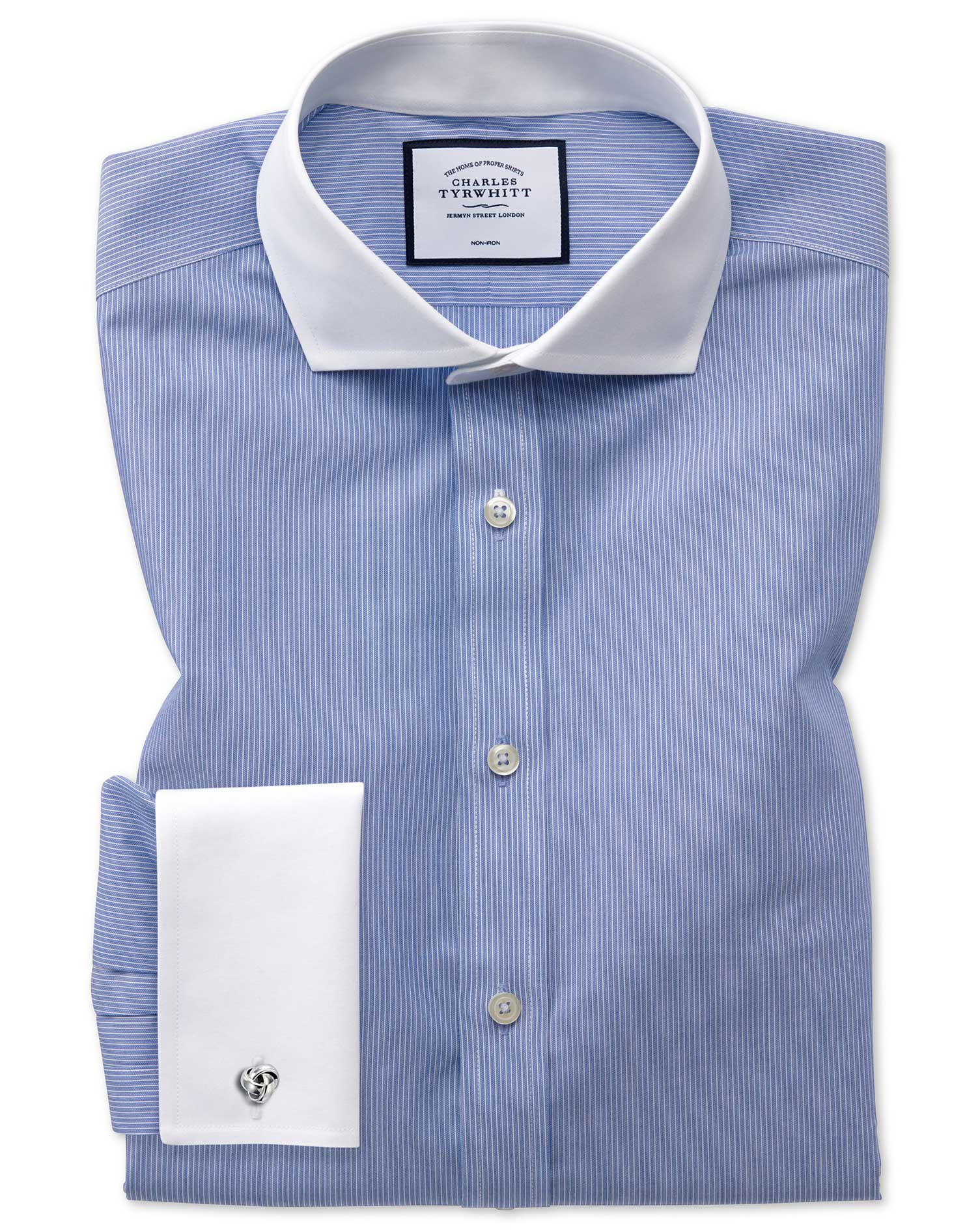 Slim Fit Non-Iron Winchester Blue Cotton Formal Shirt Double Cuff Size 17/37 by Charles Tyrwhitt